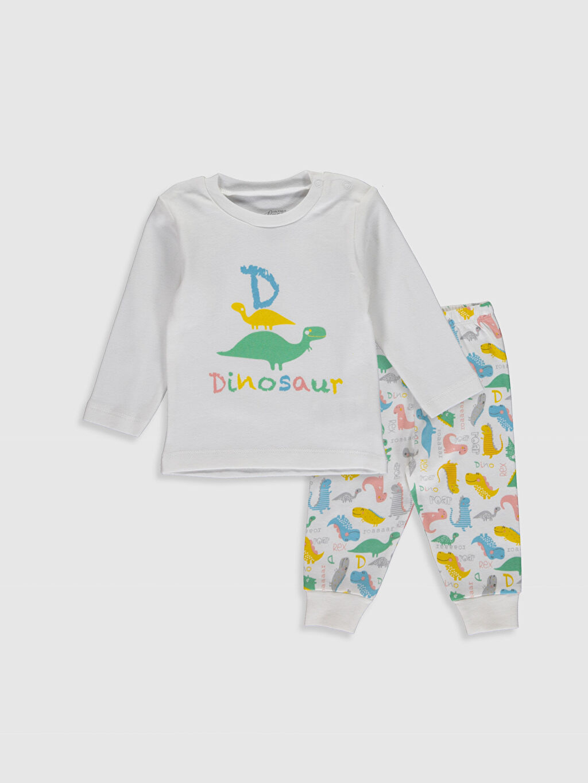 Ekru  Luggi Baby Yenidoğan Baskılı Pijama Takımı 0SU414Z1 LC Waikiki