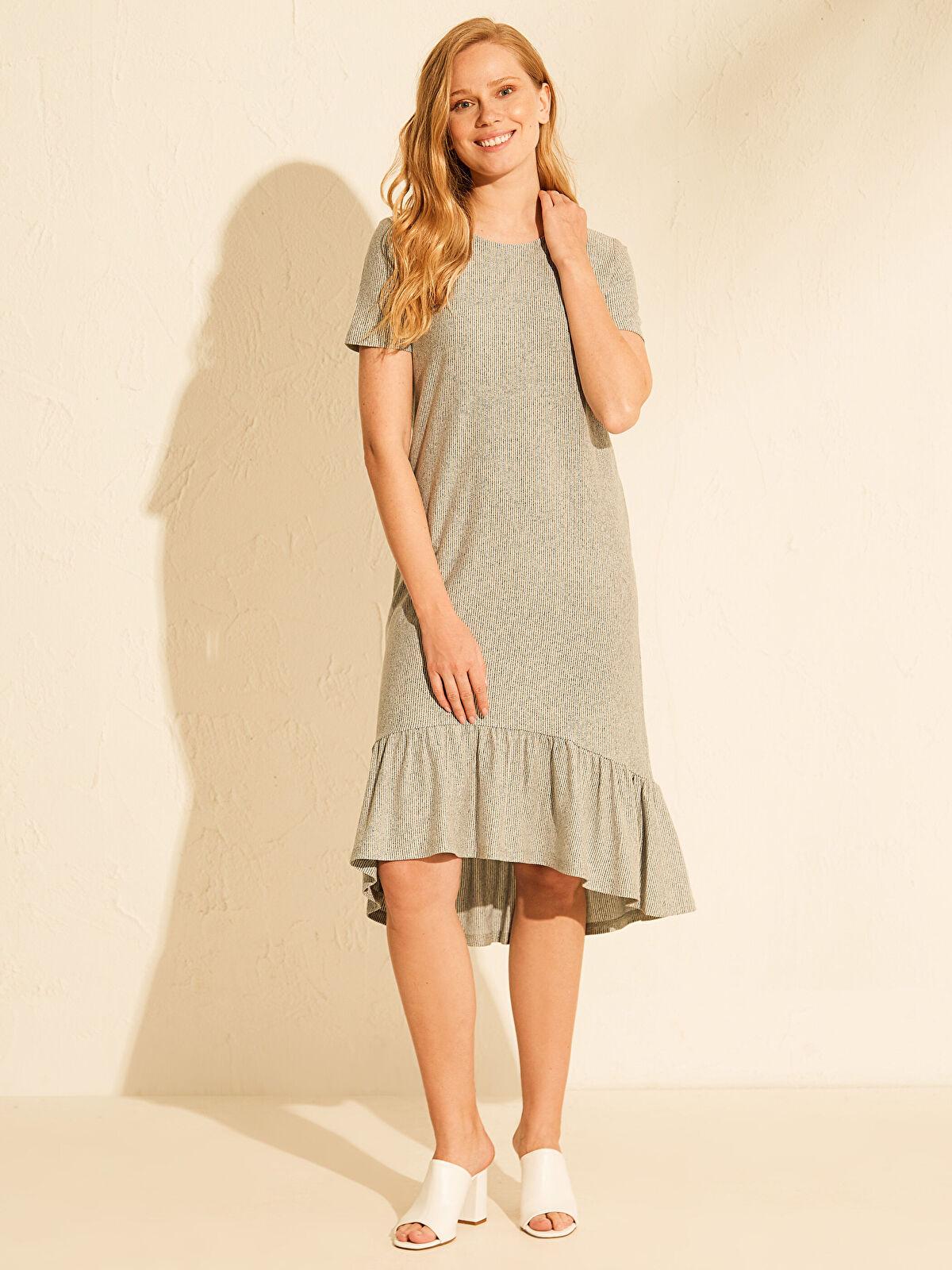Fırfır Detaylı Çizgili Elbise - LC WAIKIKI