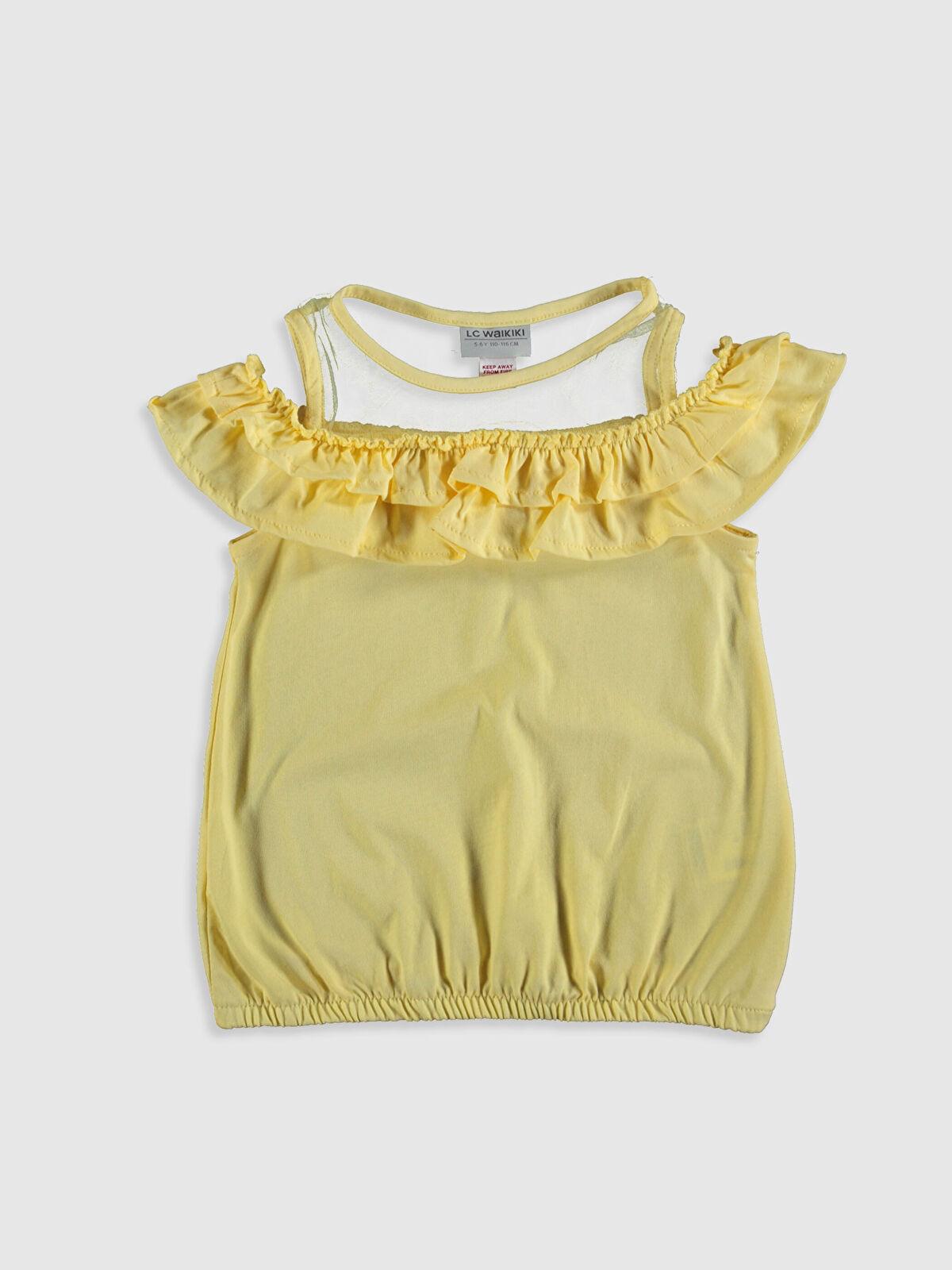 Kız Çocuk Fırfırlı Omuzu Açık Tişört - LC WAIKIKI