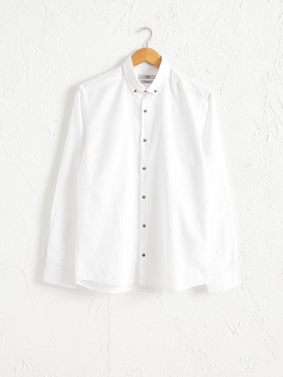 Slim Fit Uzun Kollu Keten Gömlek - LC WAIKIKI