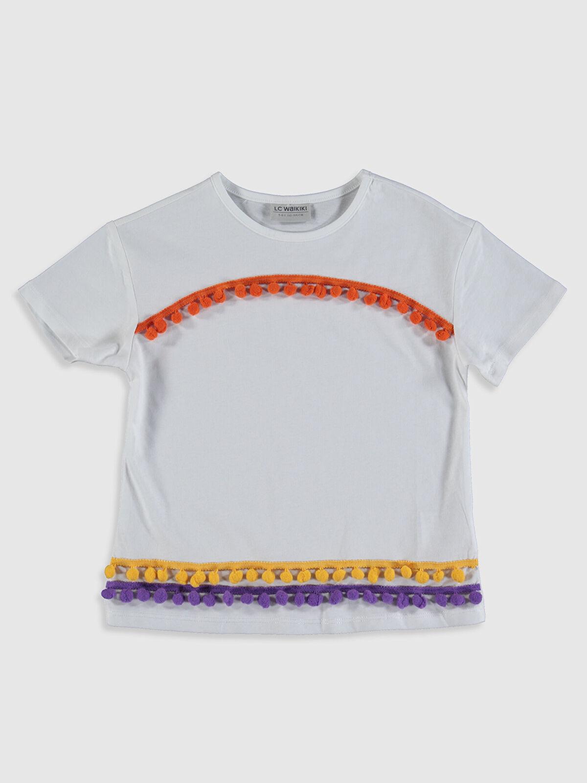 Kız Çocuk Ponponlu Pamuklu Tişört - LC WAIKIKI
