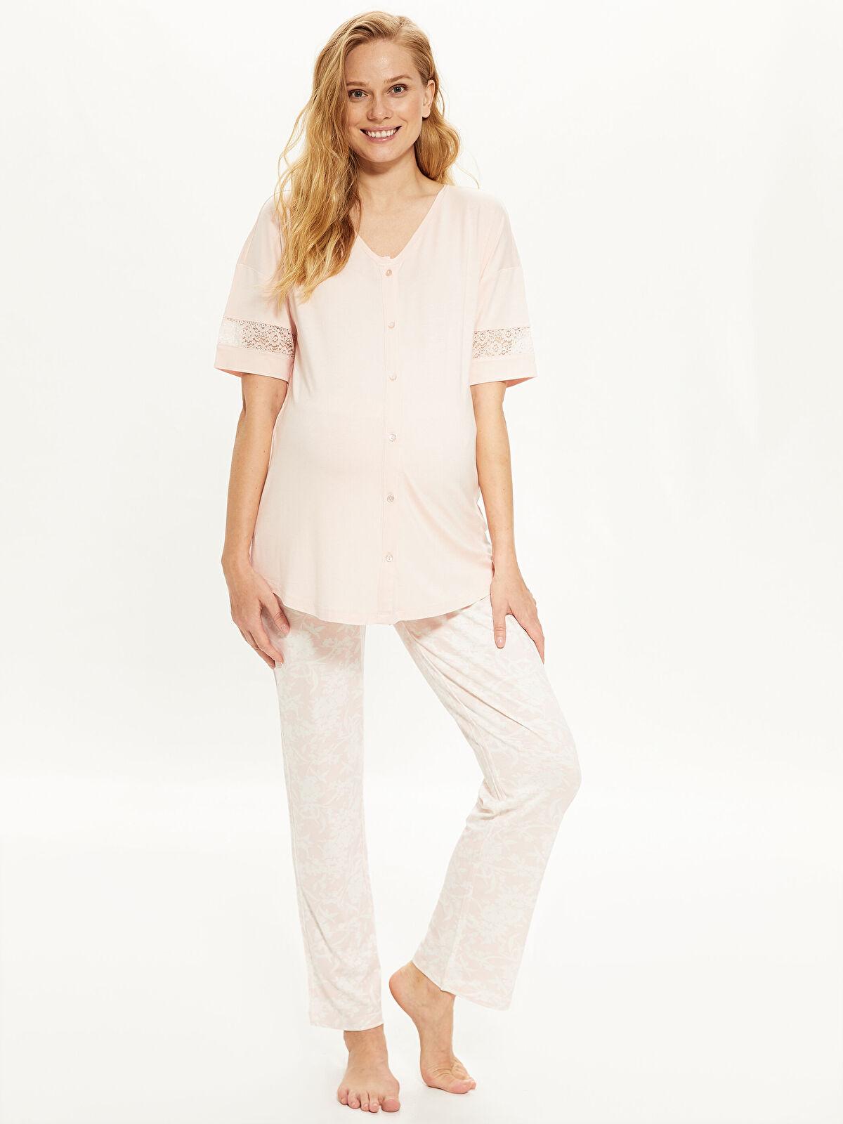Dantel Detaylı Viskon Hamile  Pijama Takımı - LC WAIKIKI