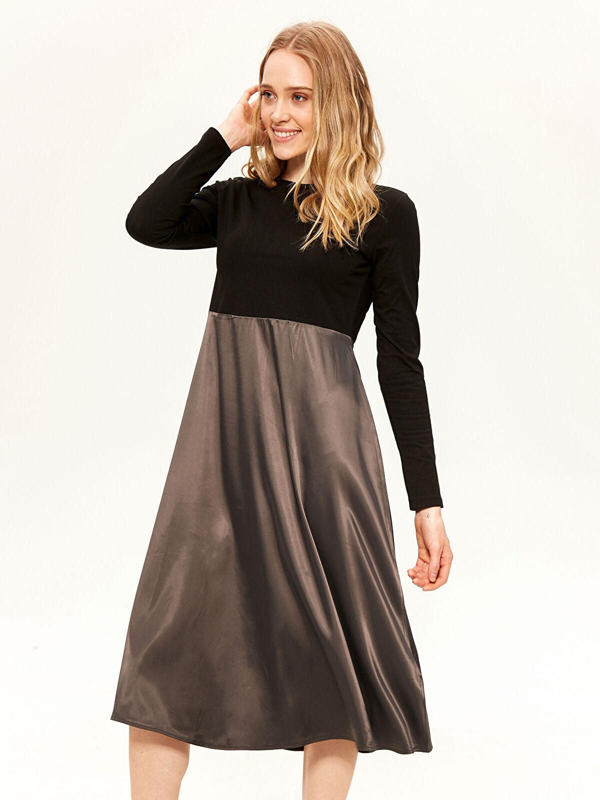 Saten Detaylı Kloş Elbise - LC WAIKIKI