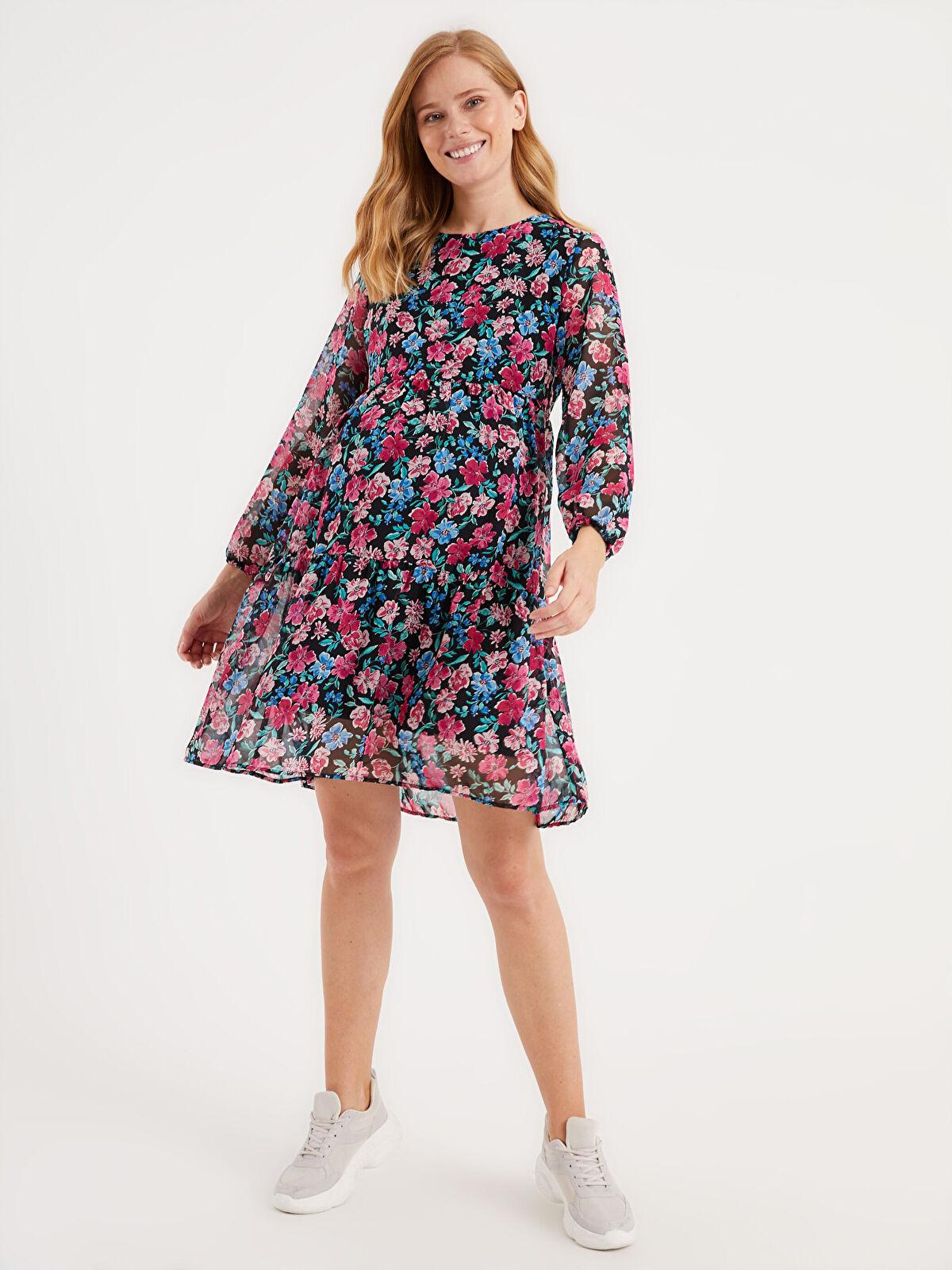 Çiçek Desenli Şifon Hamile Elbise - LC WAIKIKI