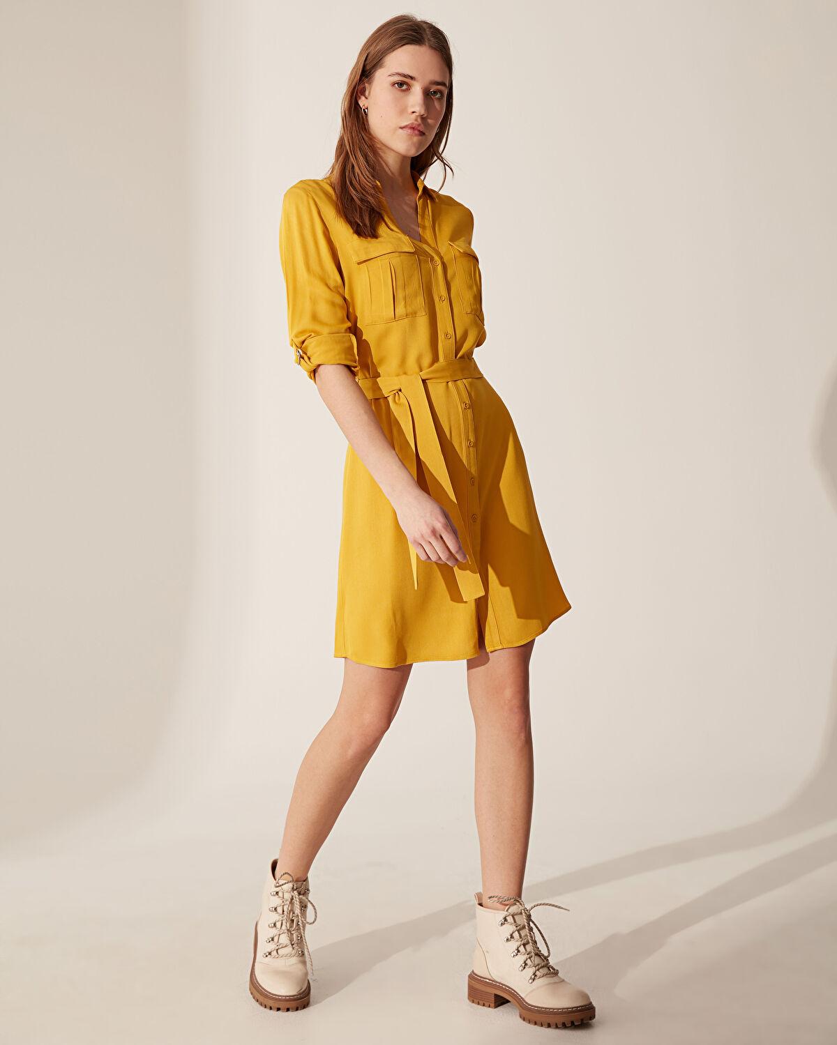 Kuşaklı Viskon Gömlek Elbise - LC WAIKIKI
