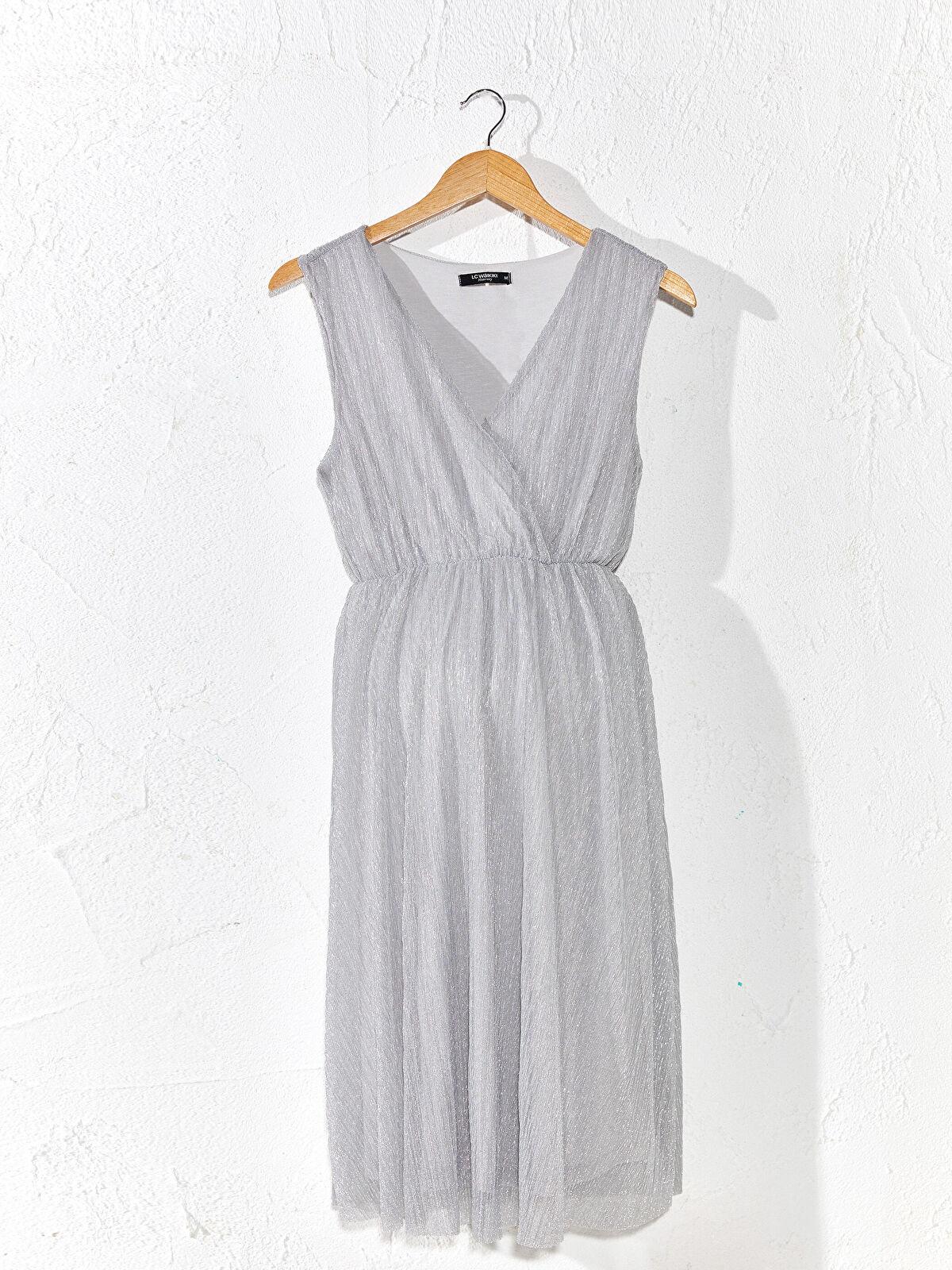 Işıltılı Kruvaze Yaka Hamile Elbise - LC WAIKIKI