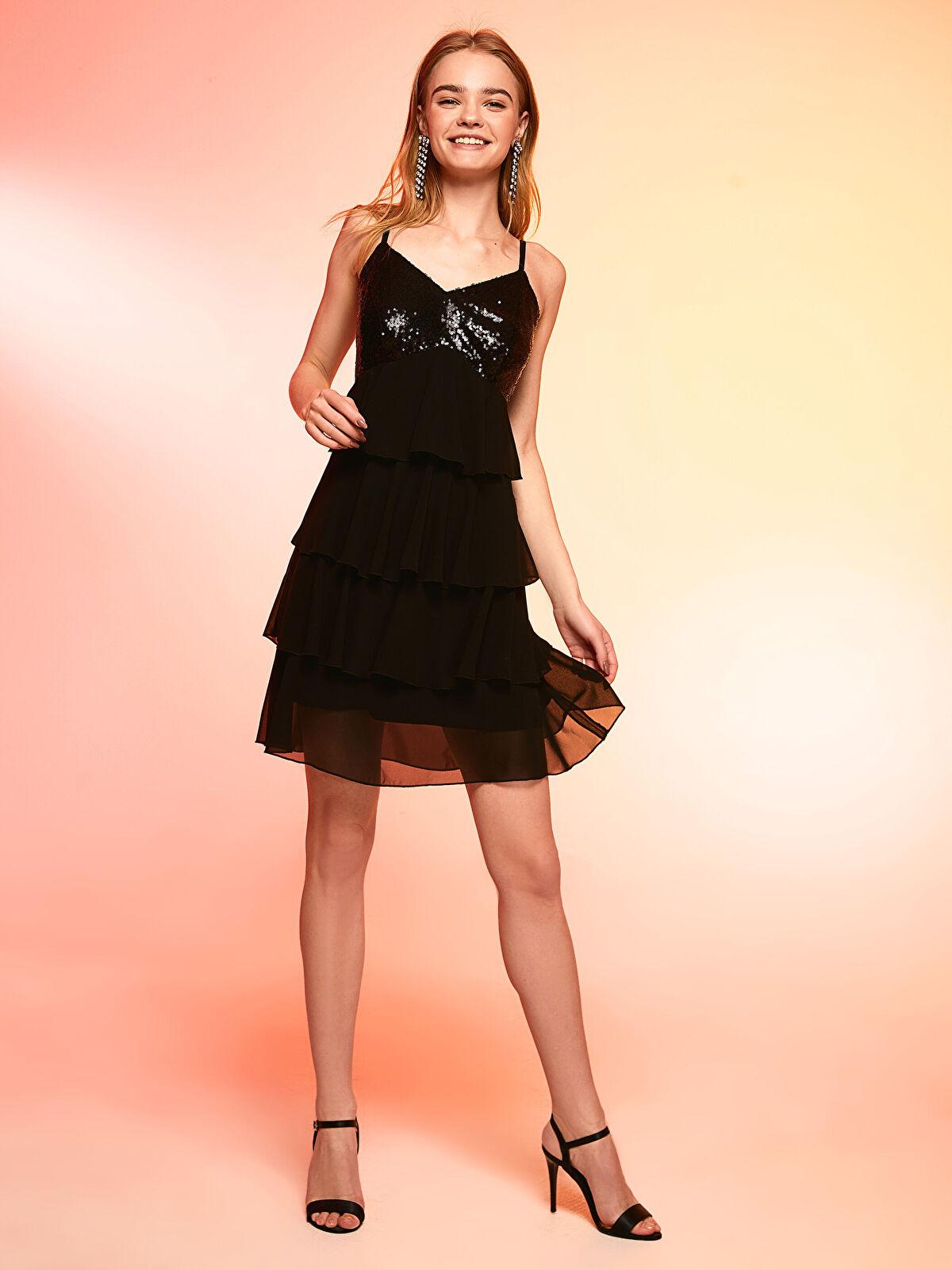 Yakası Pul Nakışlı Fırfırlı Şifon Mini Elbise - LC WAIKIKI
