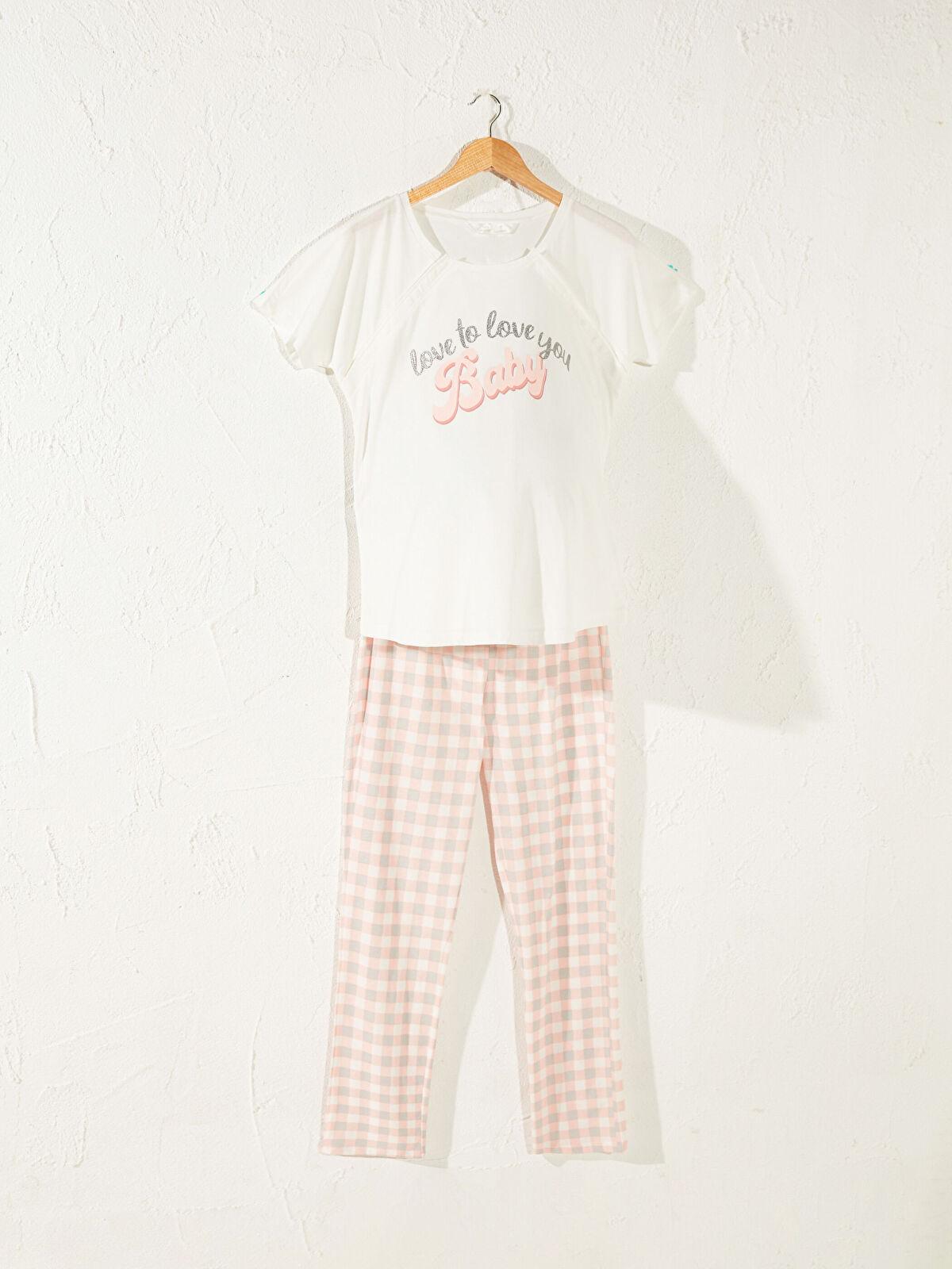 Slogan Baskılı Pamuklu Hamile Pijama Takımı - LC WAIKIKI
