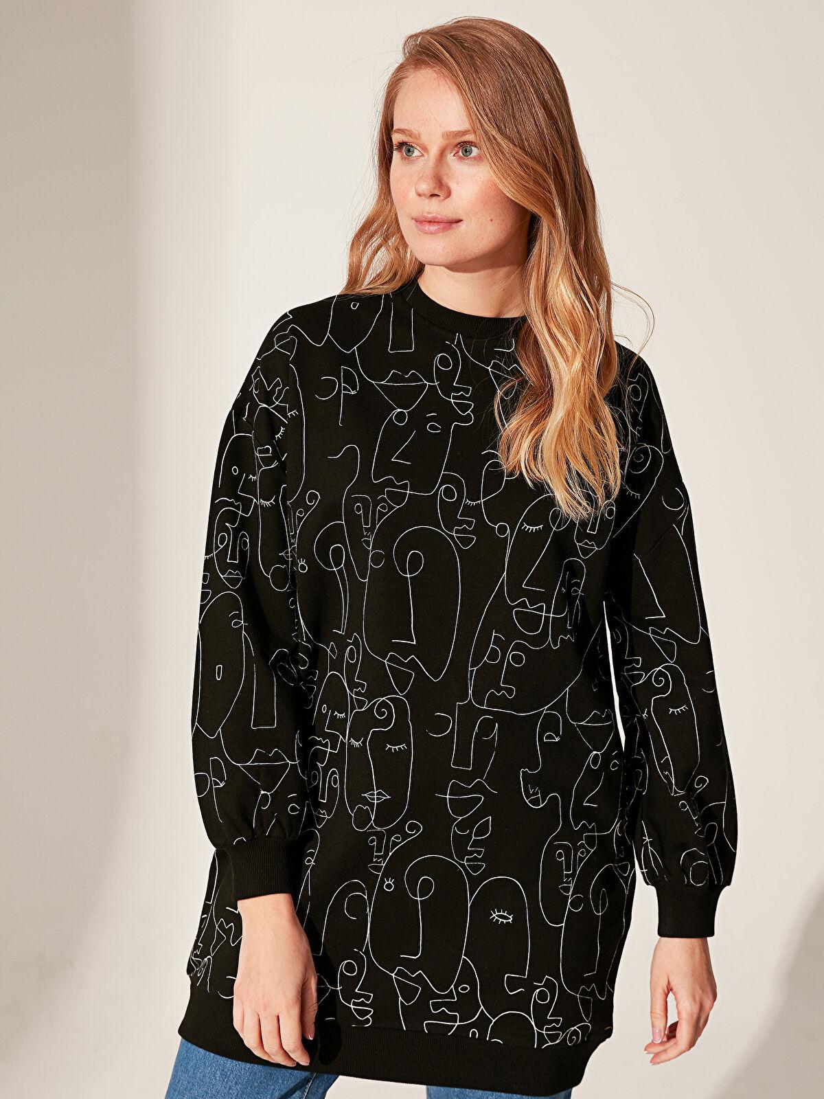 Desenli Oversize Sweatshirt - LC WAIKIKI