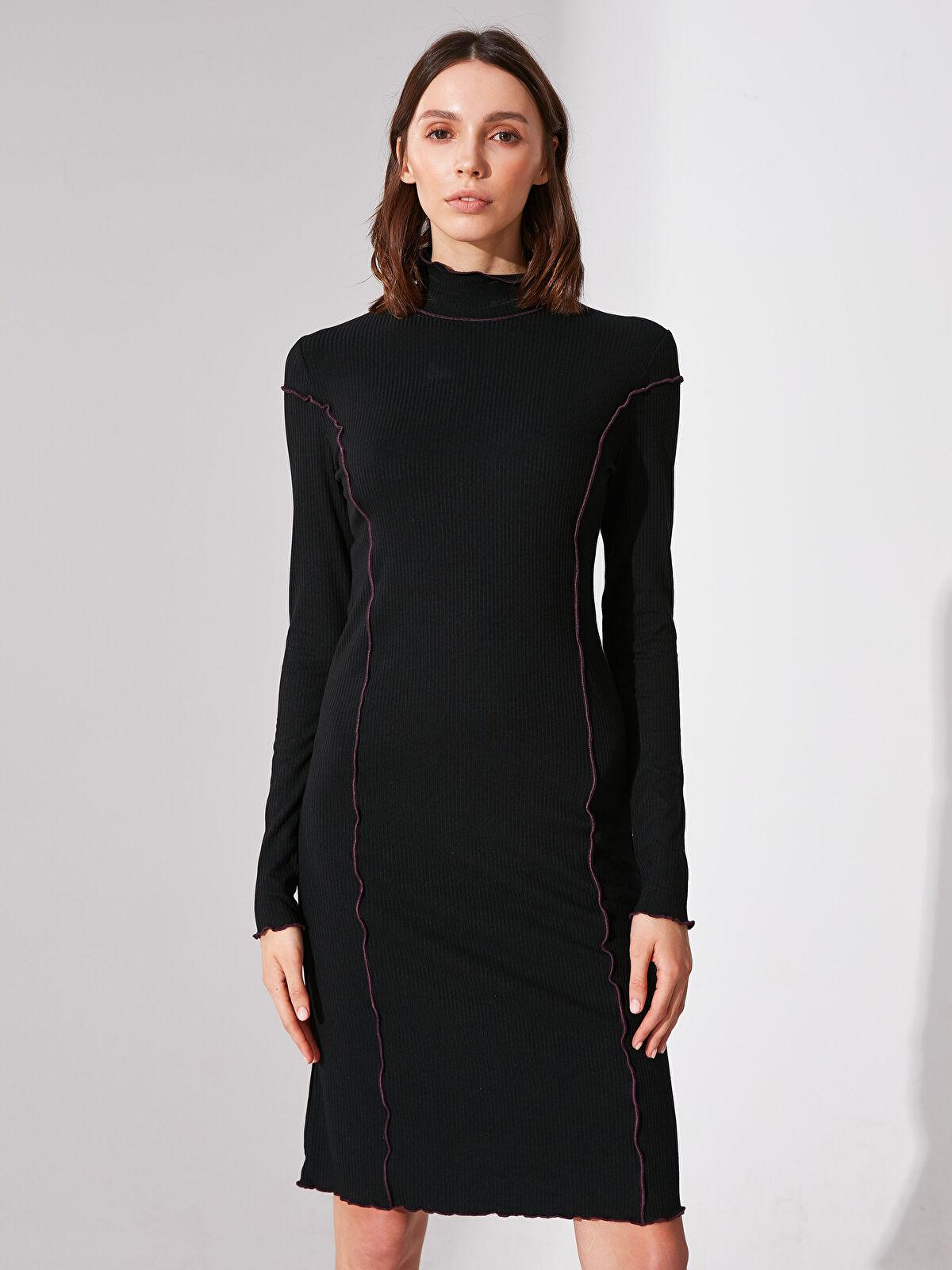 Re-SIS Dikiş Detaylı Viskon Elbise - Markalar