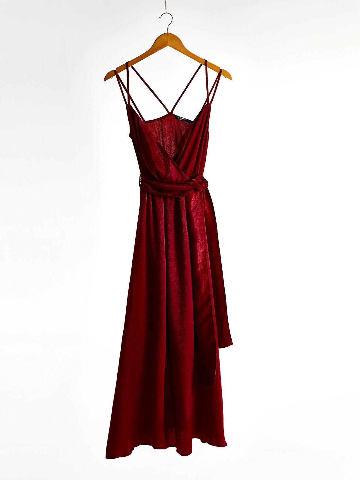 LC WAIKIKI Kadın Kruvaze Yaka Kuşaklı Sırt Detaylı Elbise
