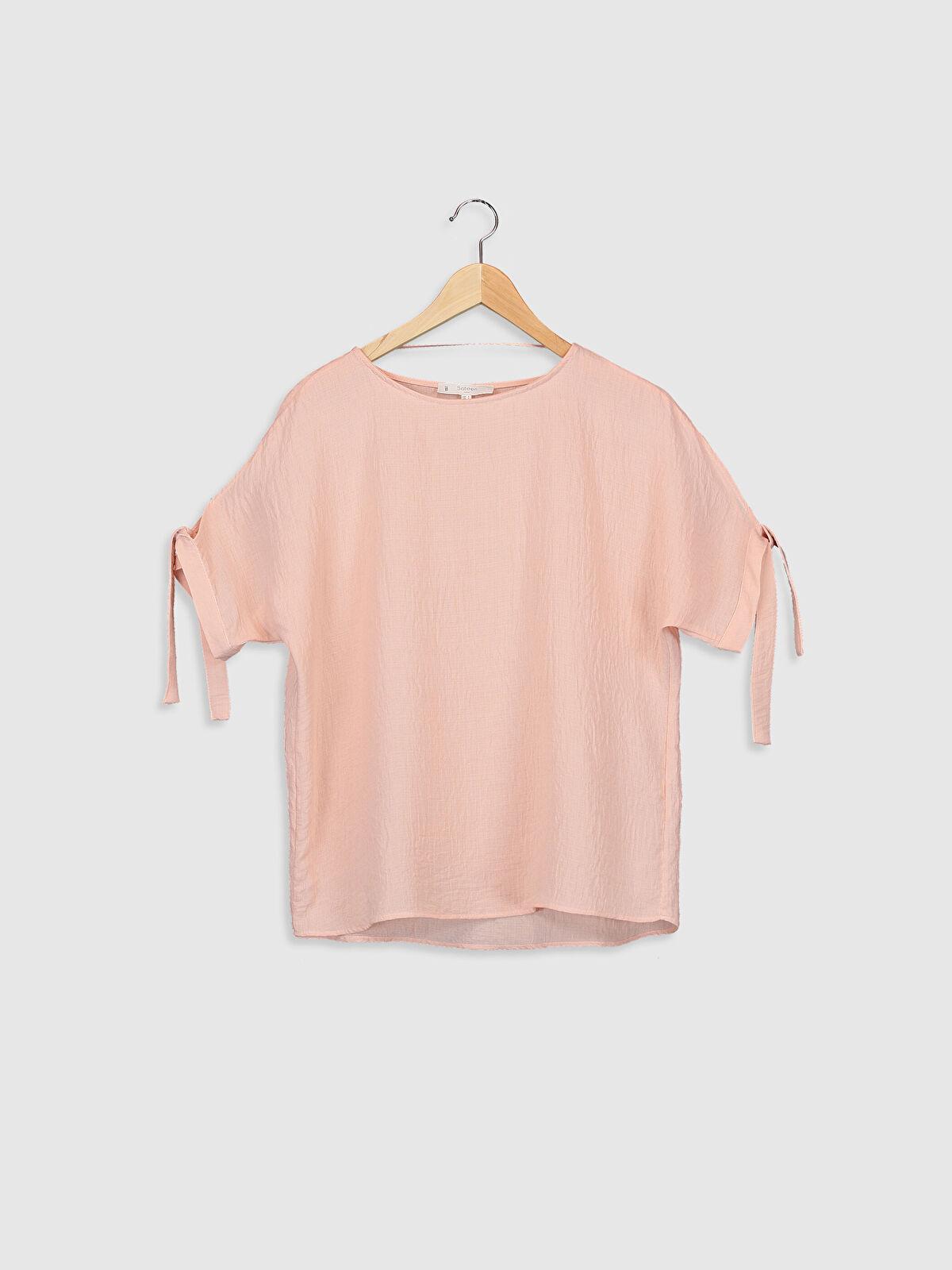 Sateen Kol Ucu Bağlama Detaylı Viskon Bluz - Markalar