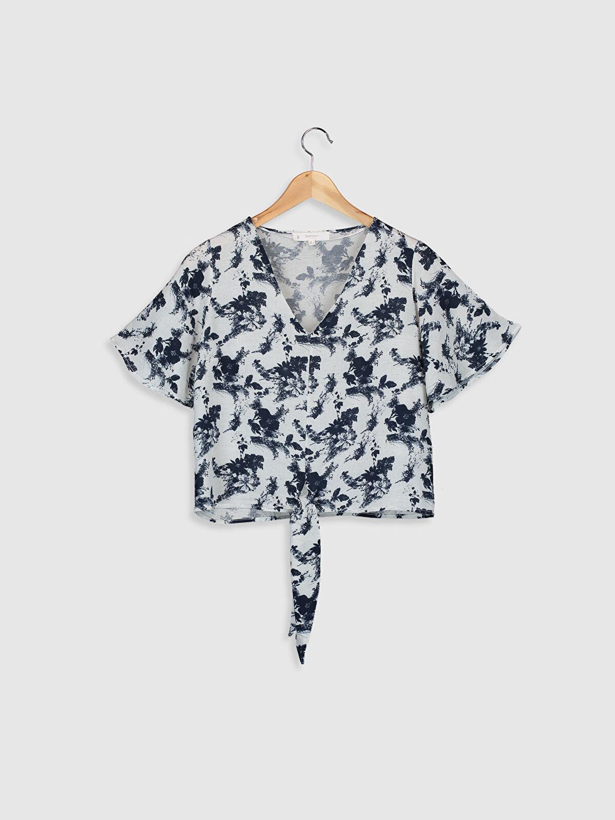 Sateen Beli Bağlama Detaylı Desenli Viskon Bluz - Markalar
