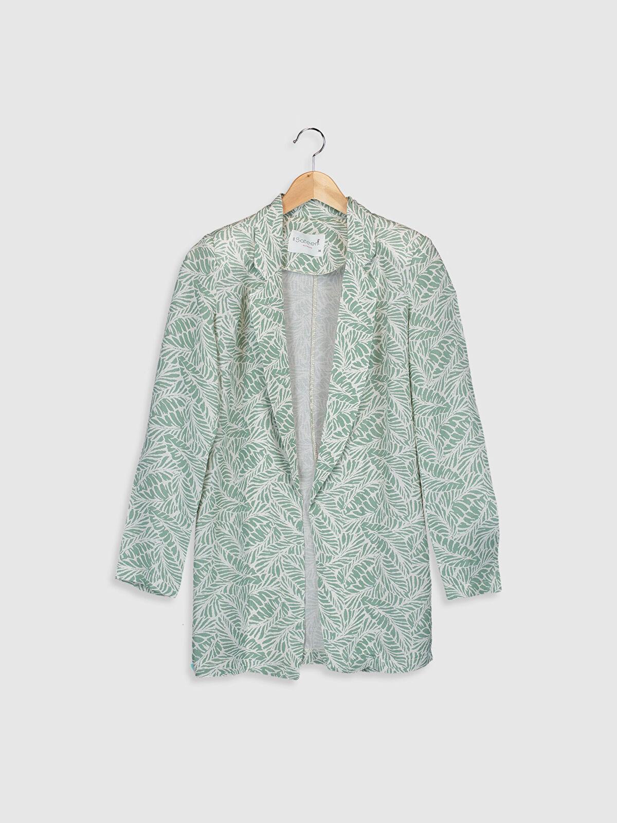 Sateen Yaprak Desenli Blazer Ceket - Markalar