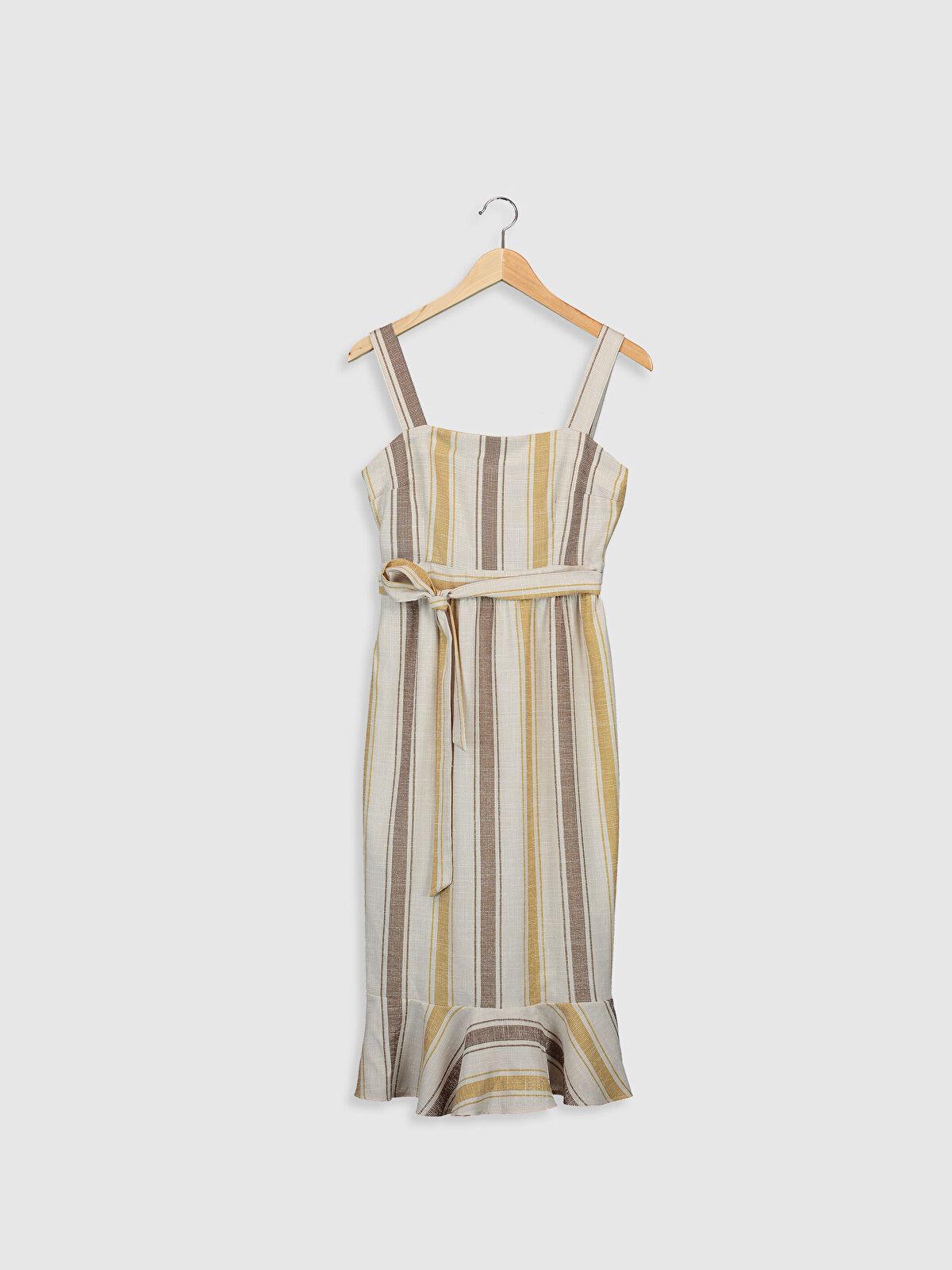 Sateen Çizgili Kuşaklı Viskon Elbise - Markalar