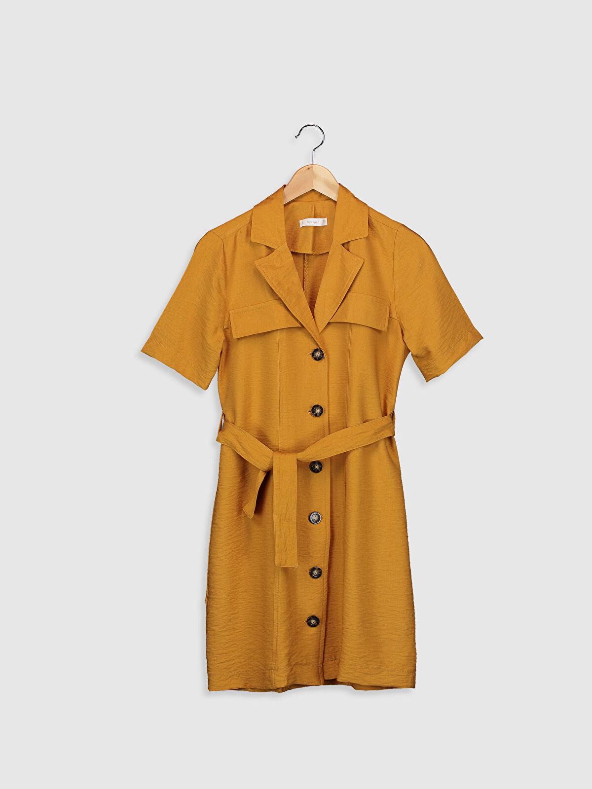 Sateen Kuşaklı Düğme Detaylı Elbise - Markalar