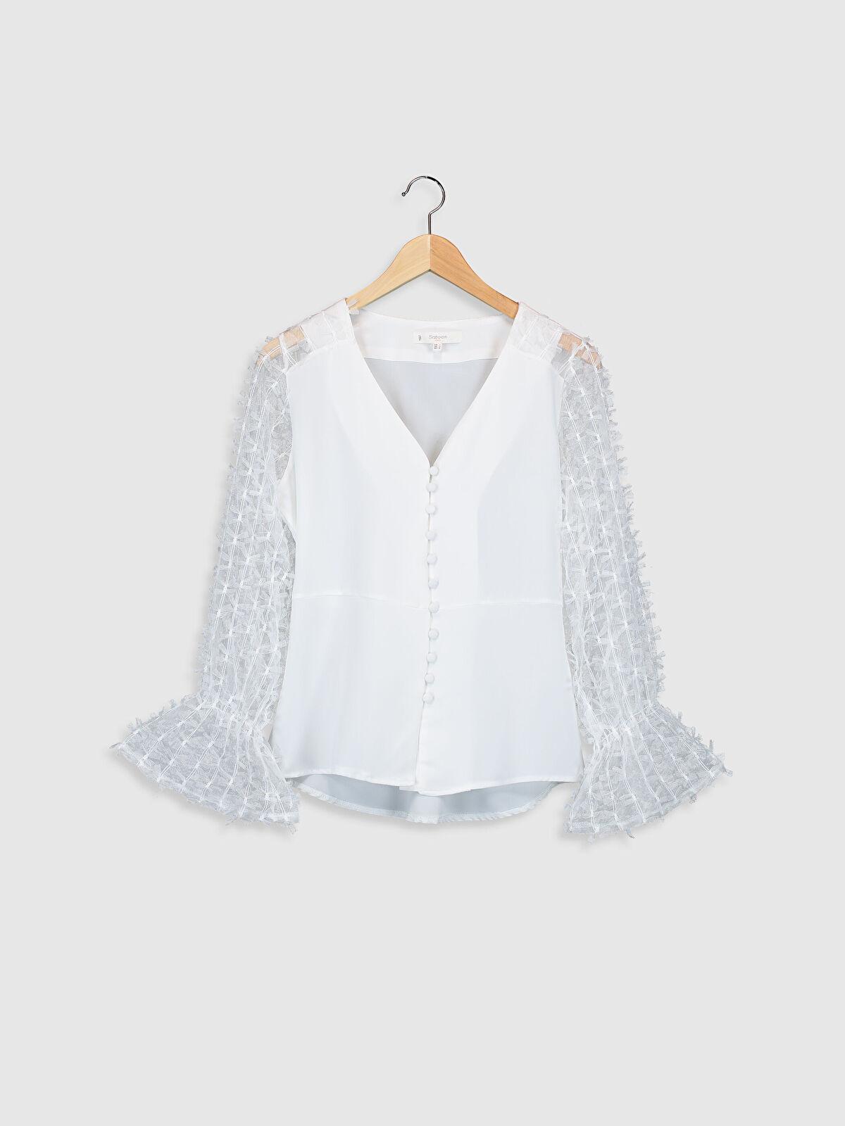 Sateen Tül Detaylı Düğmeli Bluz - Markalar