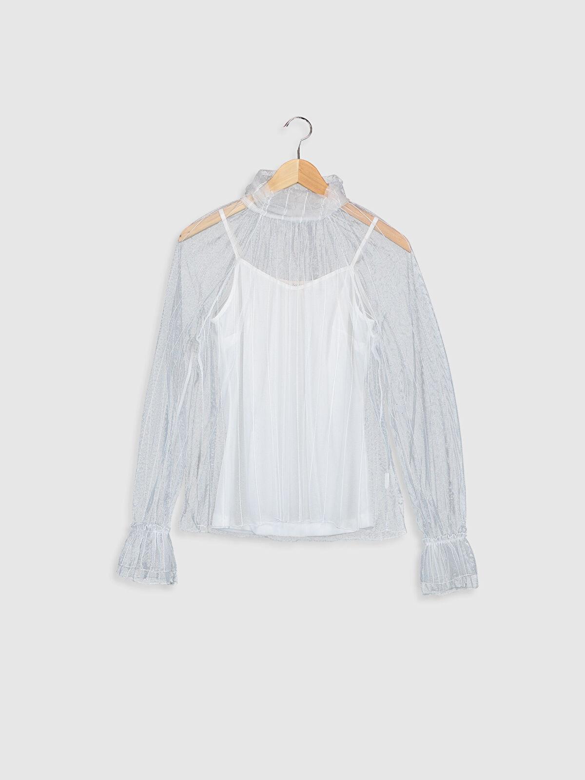 Sateen Yaka Detaylı Tül Bluz - Markalar
