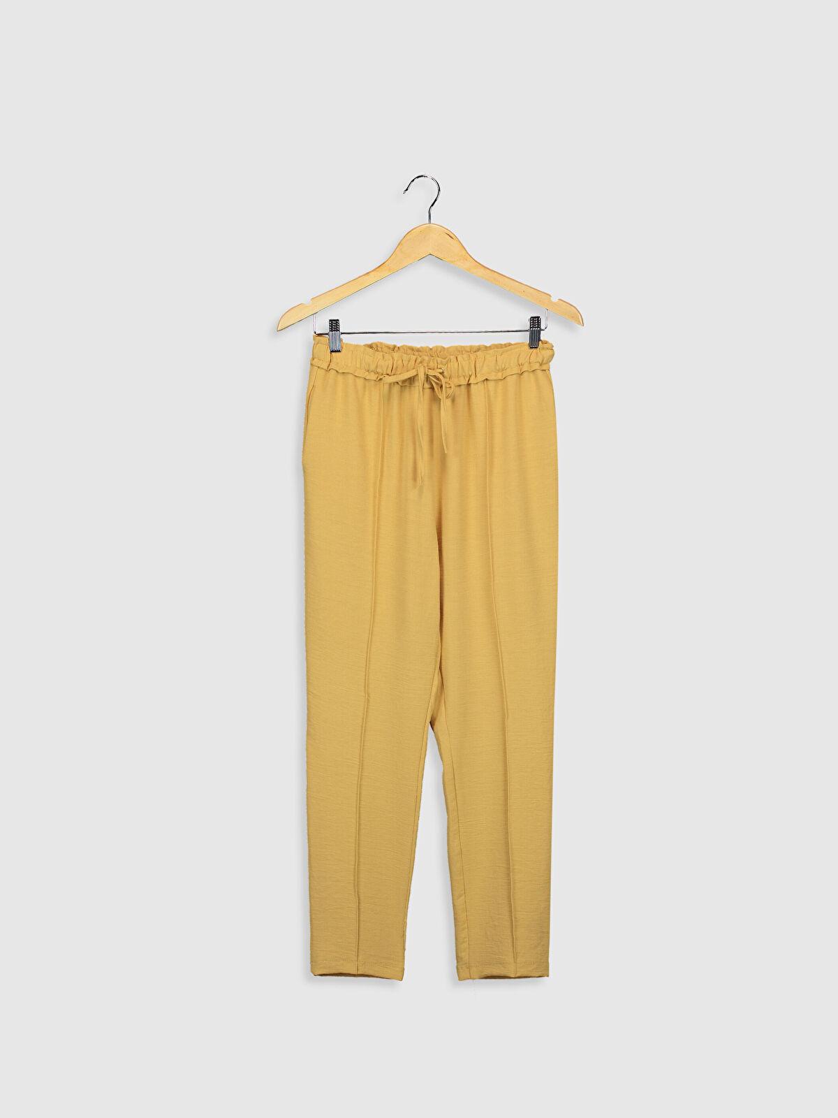 Sateen Dokulu Kumaştan Beli Lastikli Havuç Pantolon - Markalar