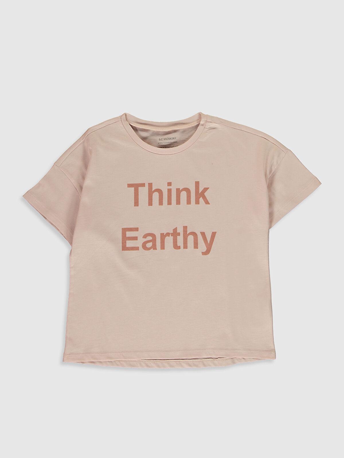 Kız Çocuk Bitkisel Boyalı Organik Kumaştan Tişört - LC WAIKIKI