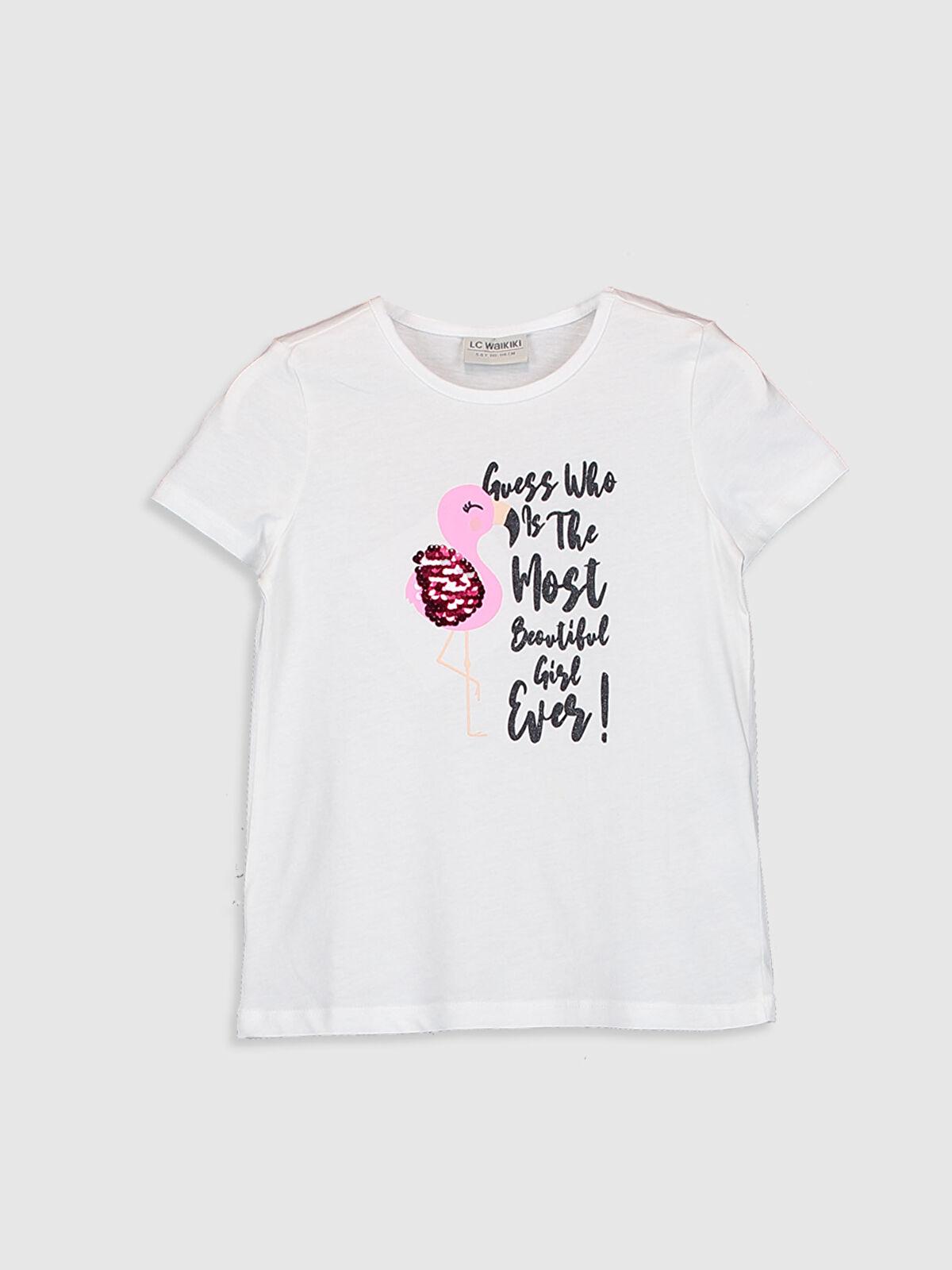 Kız Çocuk Baskılı Pul İşlemeli Tişört - LC WAIKIKI