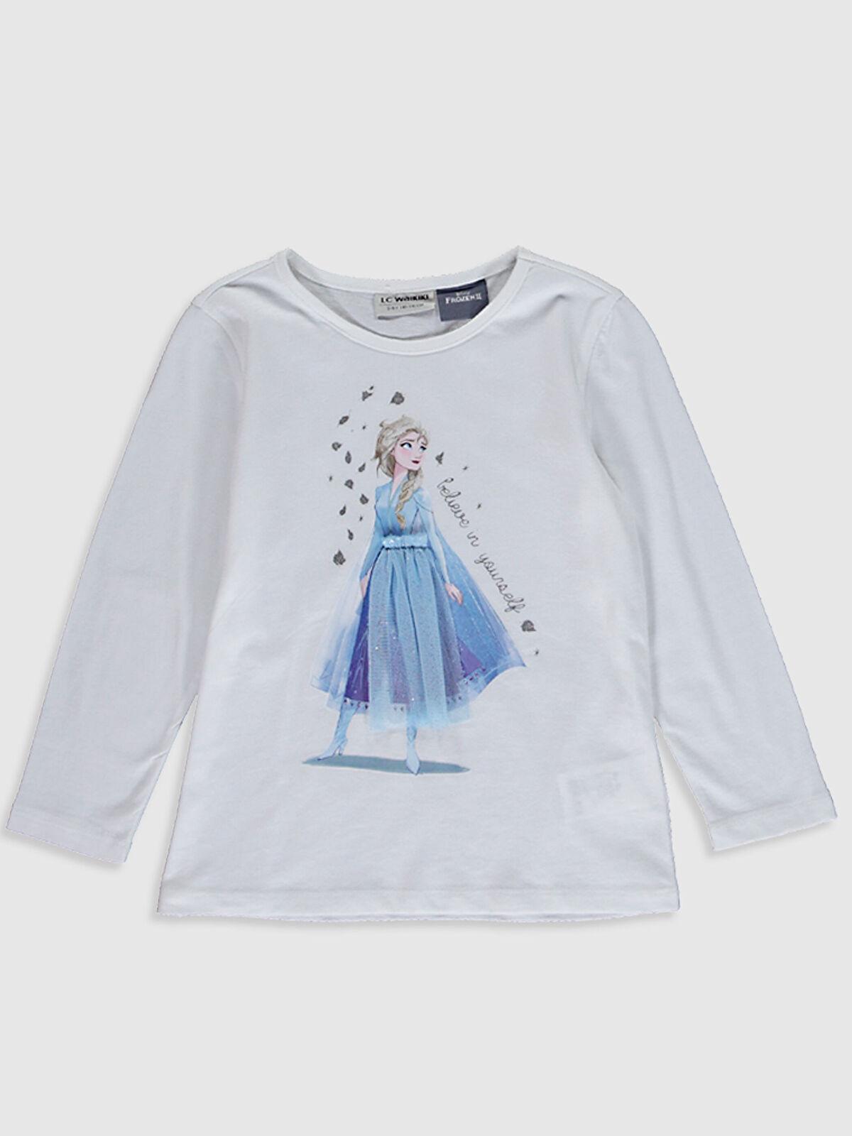 Kız Çocuk Elsa Baskılı Pamuklu Tişört - LC WAIKIKI