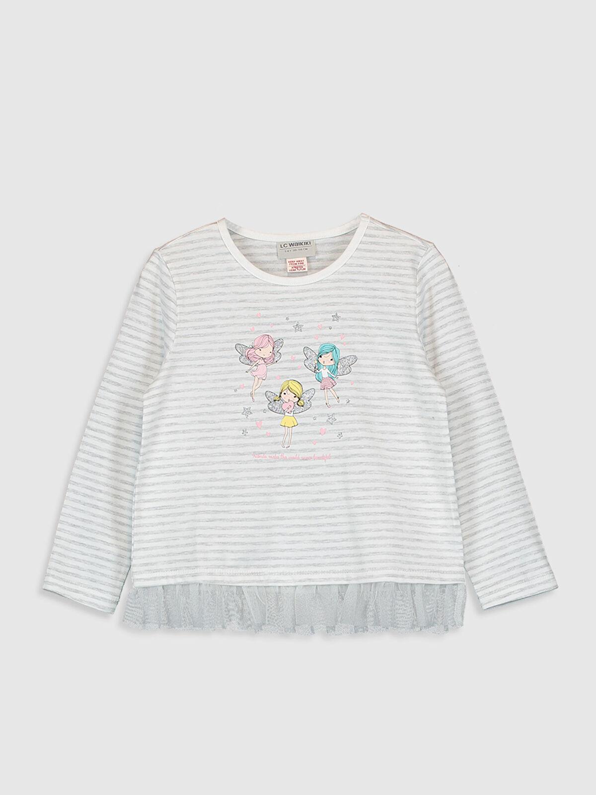 Kız Çocuk Baskılı Uzun Kollu Tişört - LC WAIKIKI