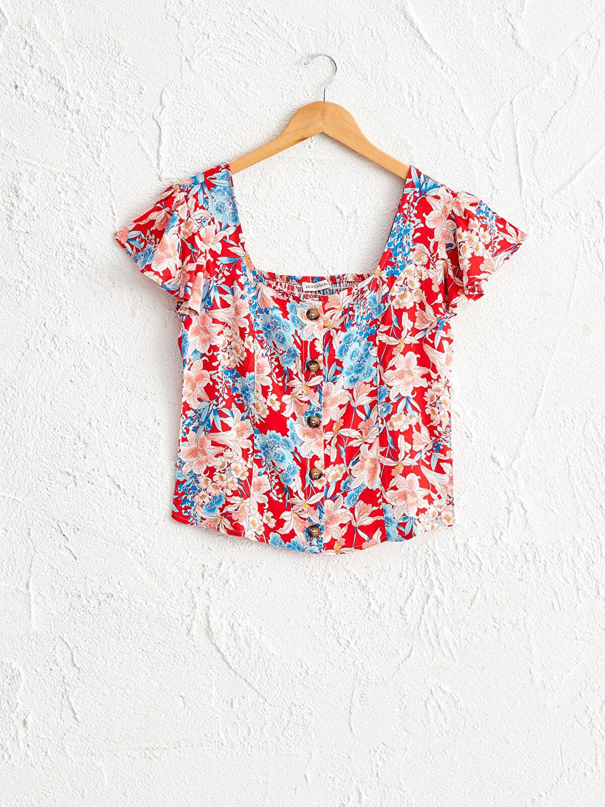 Çiçek Desenli Kare Yaka Viskon Bluz - LC WAIKIKI