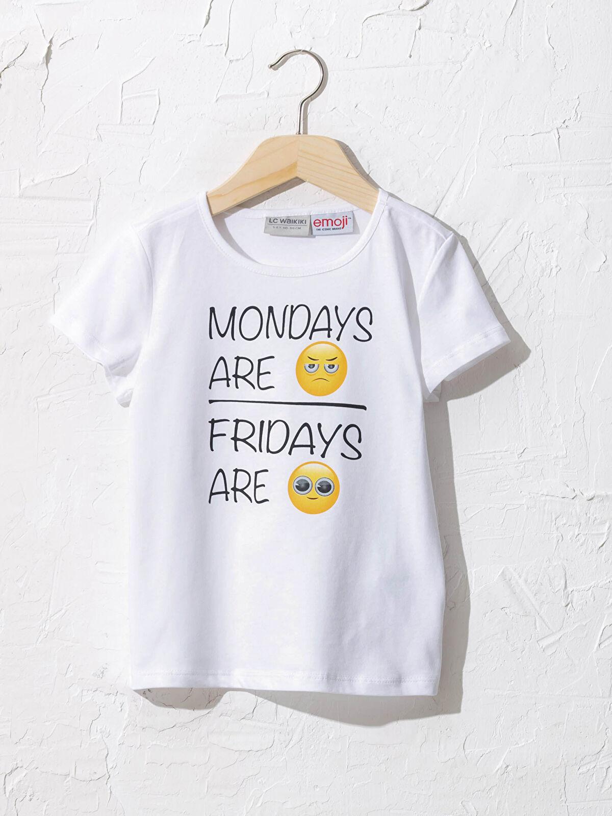 Kız Çocuk Emojili Tişört - LC WAIKIKI