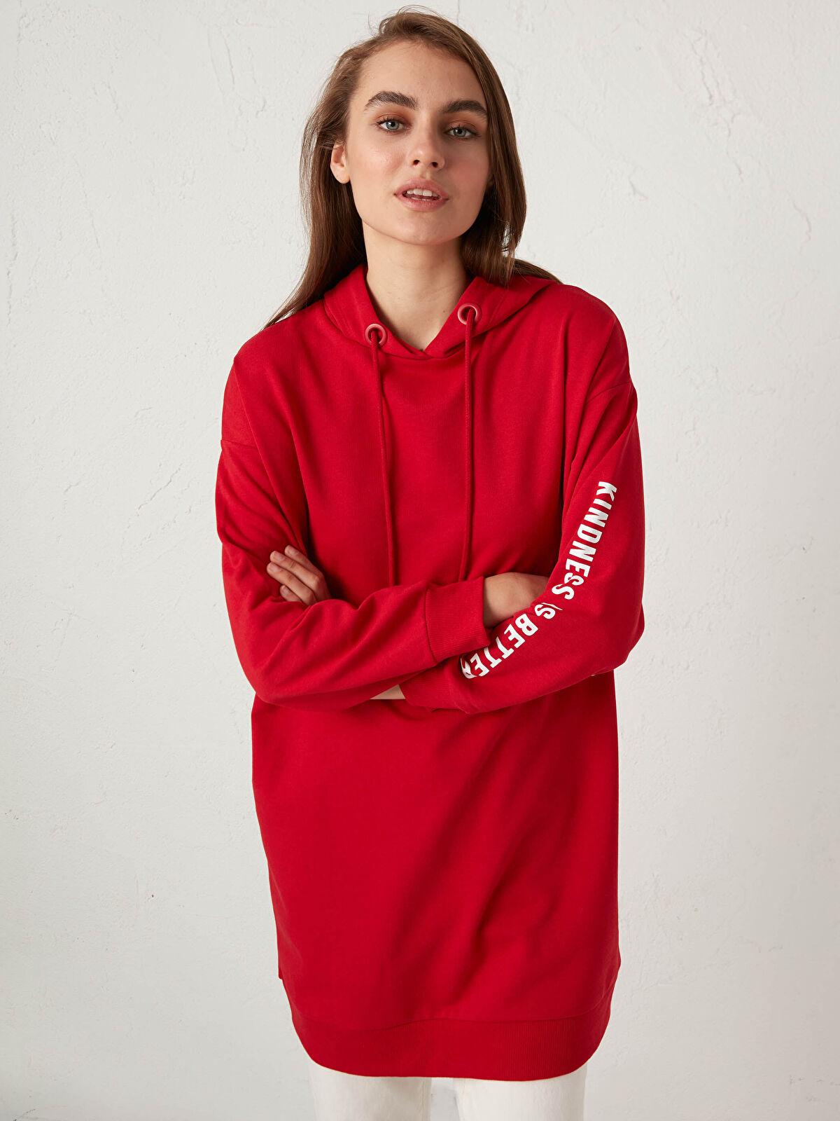 Kapüşonlu Yazı Baskılı Sweatshirt - LC WAIKIKI