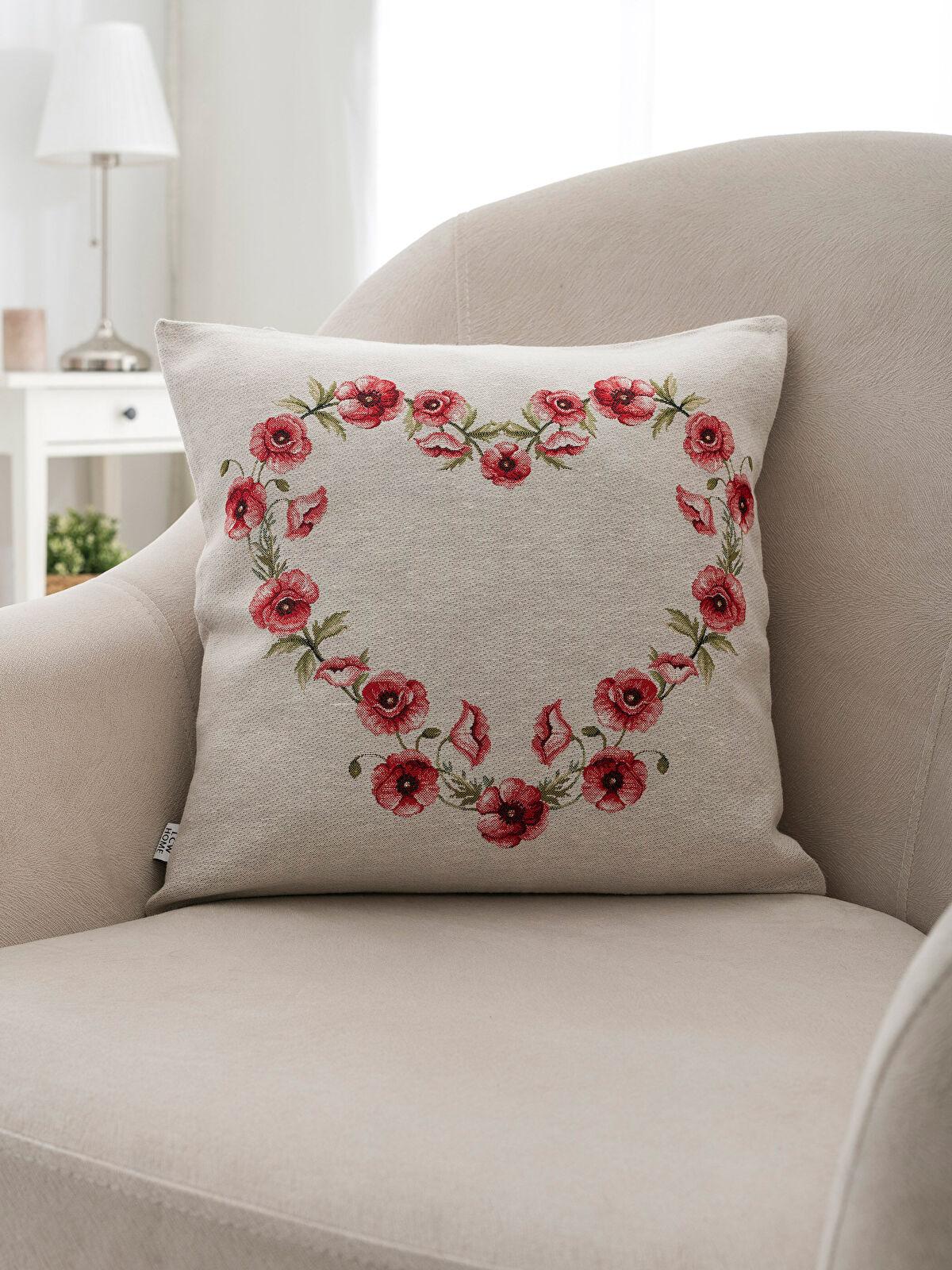 Çiçek İşlemeli Kırlent Kılıfı - LCW HOME