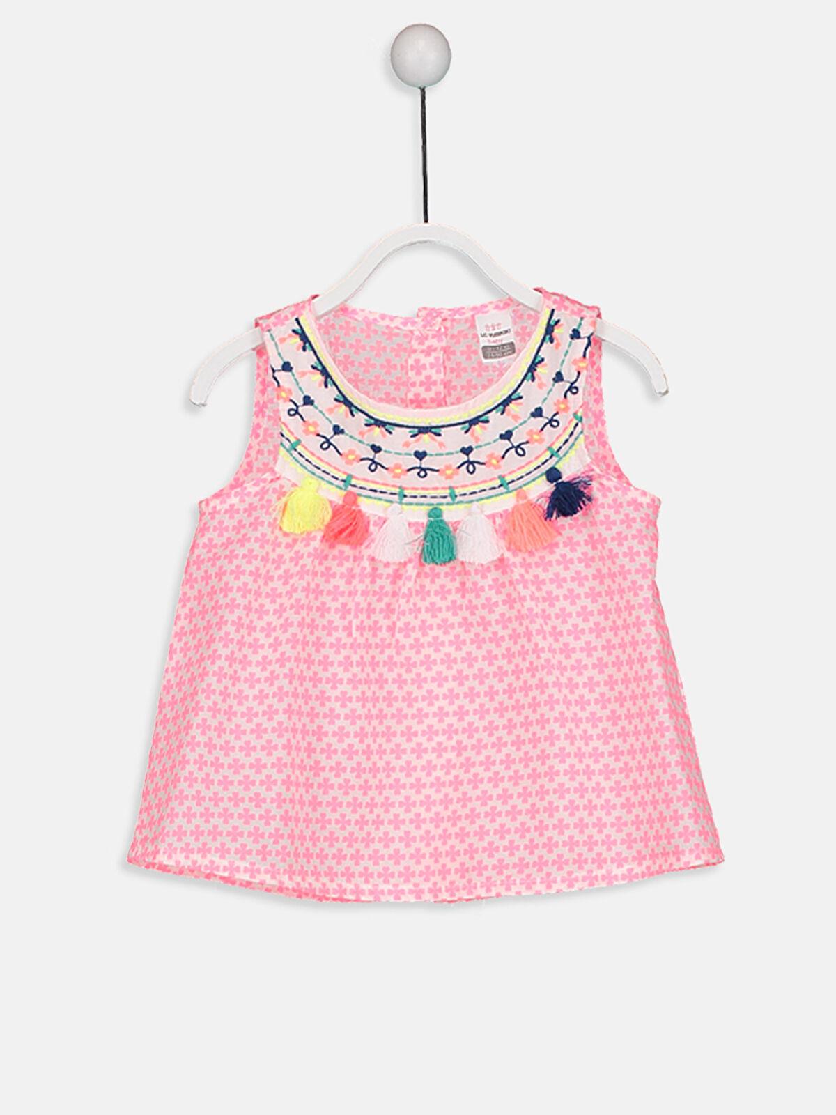 Kız Bebek Ponpon Detaylı Vual Bluz - LC WAIKIKI