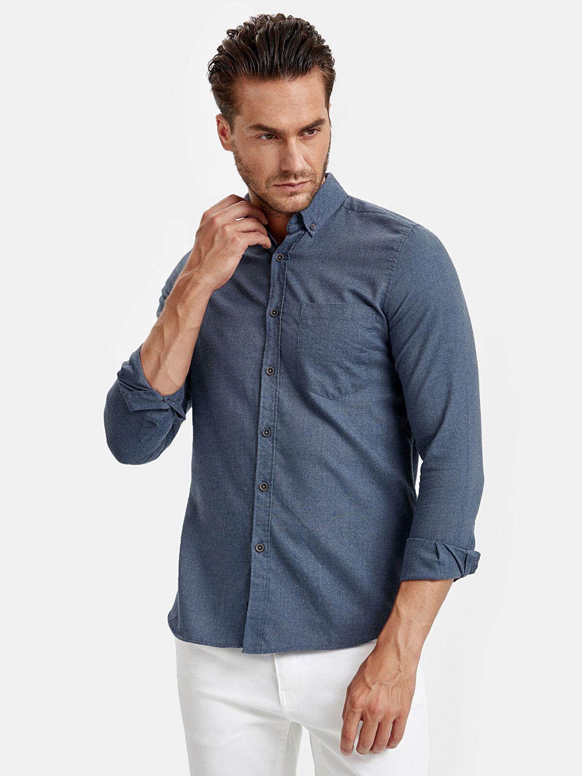 Slim Fit Uzun Kollu Oxford Gömlek  - LC WAIKIKI