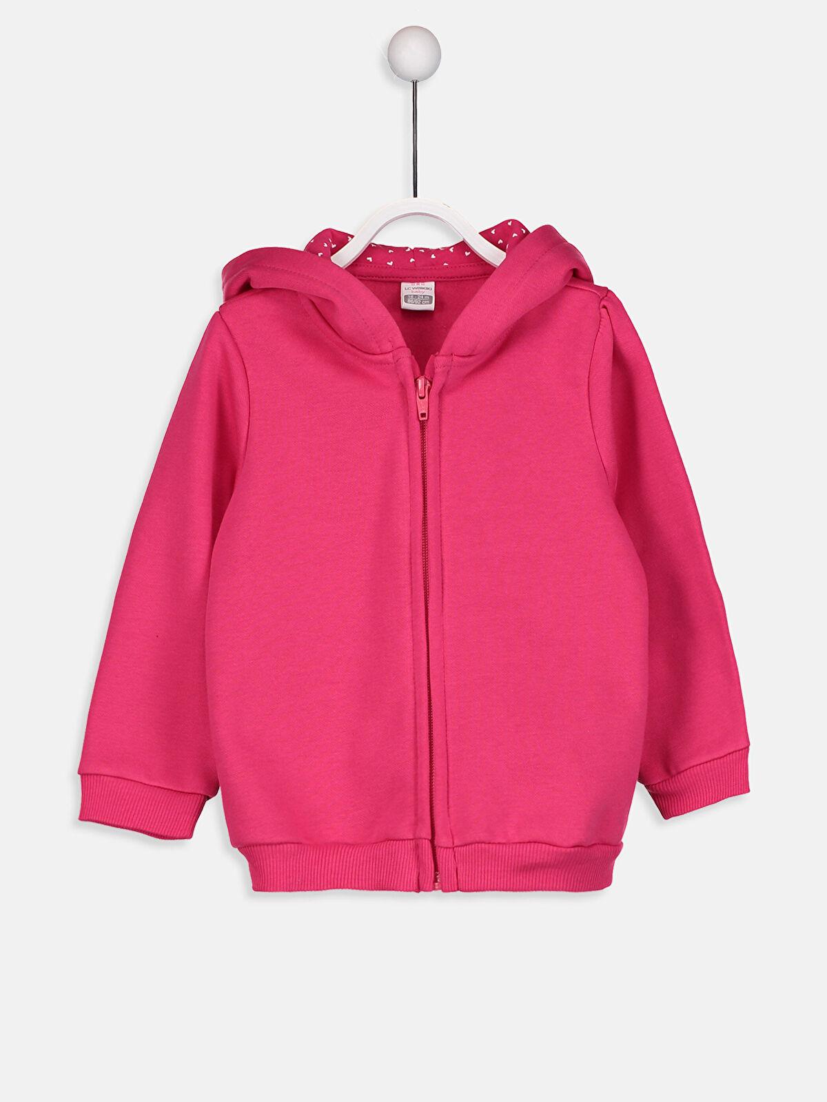 Kız Bebek Kapüşonlu Fermuarlı Sweatshirt - LC WAIKIKI