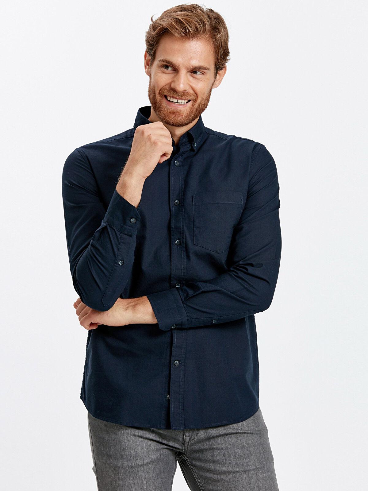 Regular Fit Uzun Kollu Oxford Gömlek - LC WAIKIKI