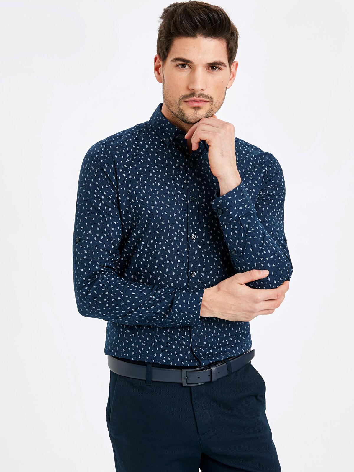 Slim Fit Desenli Uzun Kollu Oxford Gömlek  - LC WAIKIKI