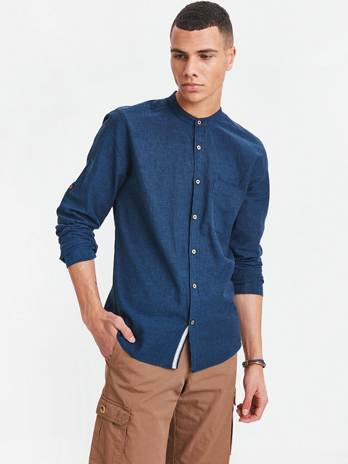 Extra Slim Fit Uzun Kollu Keten Karışımlı Gömlek - LC WAIKIKI