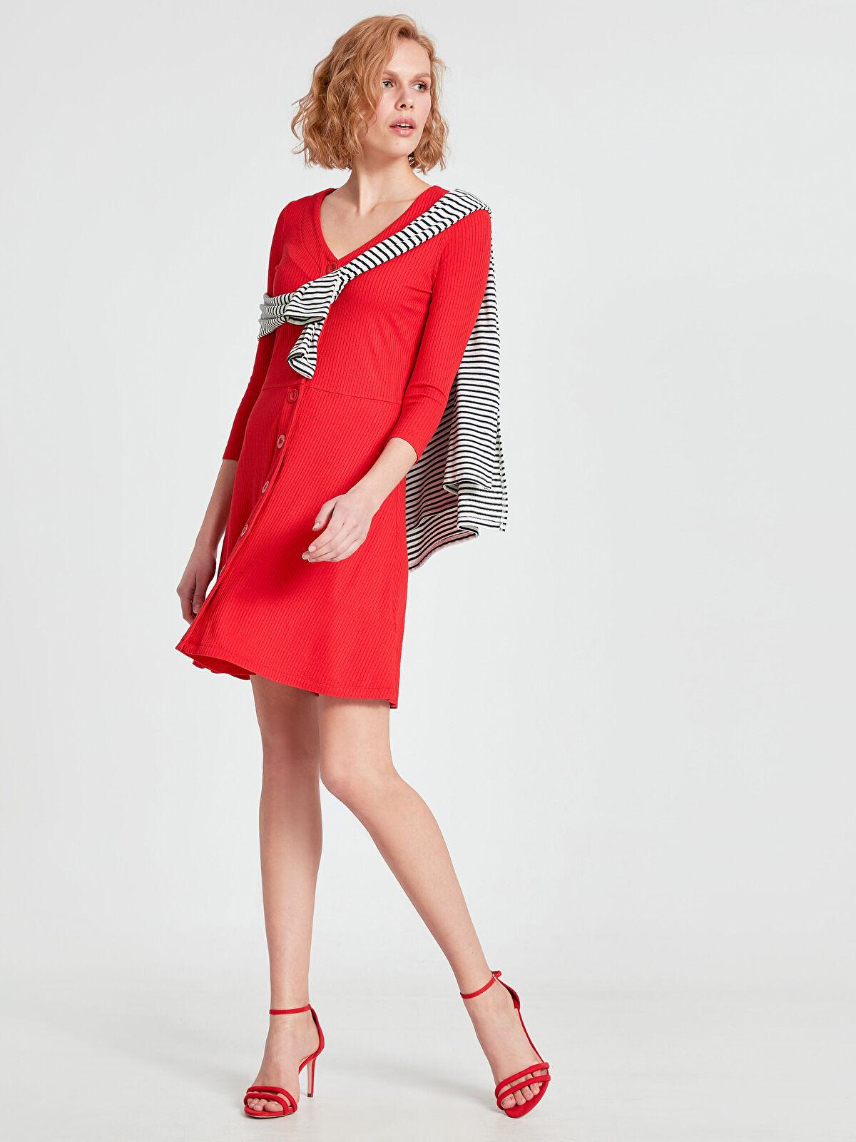 Esnek Düğmeli Elbise - LC WAIKIKI