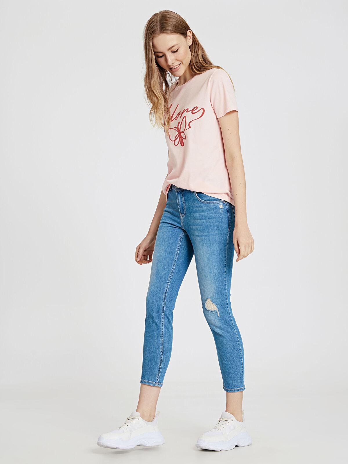 Sökük Detaylı Bilek Boy Skinny Jean Pantolon - LC WAIKIKI