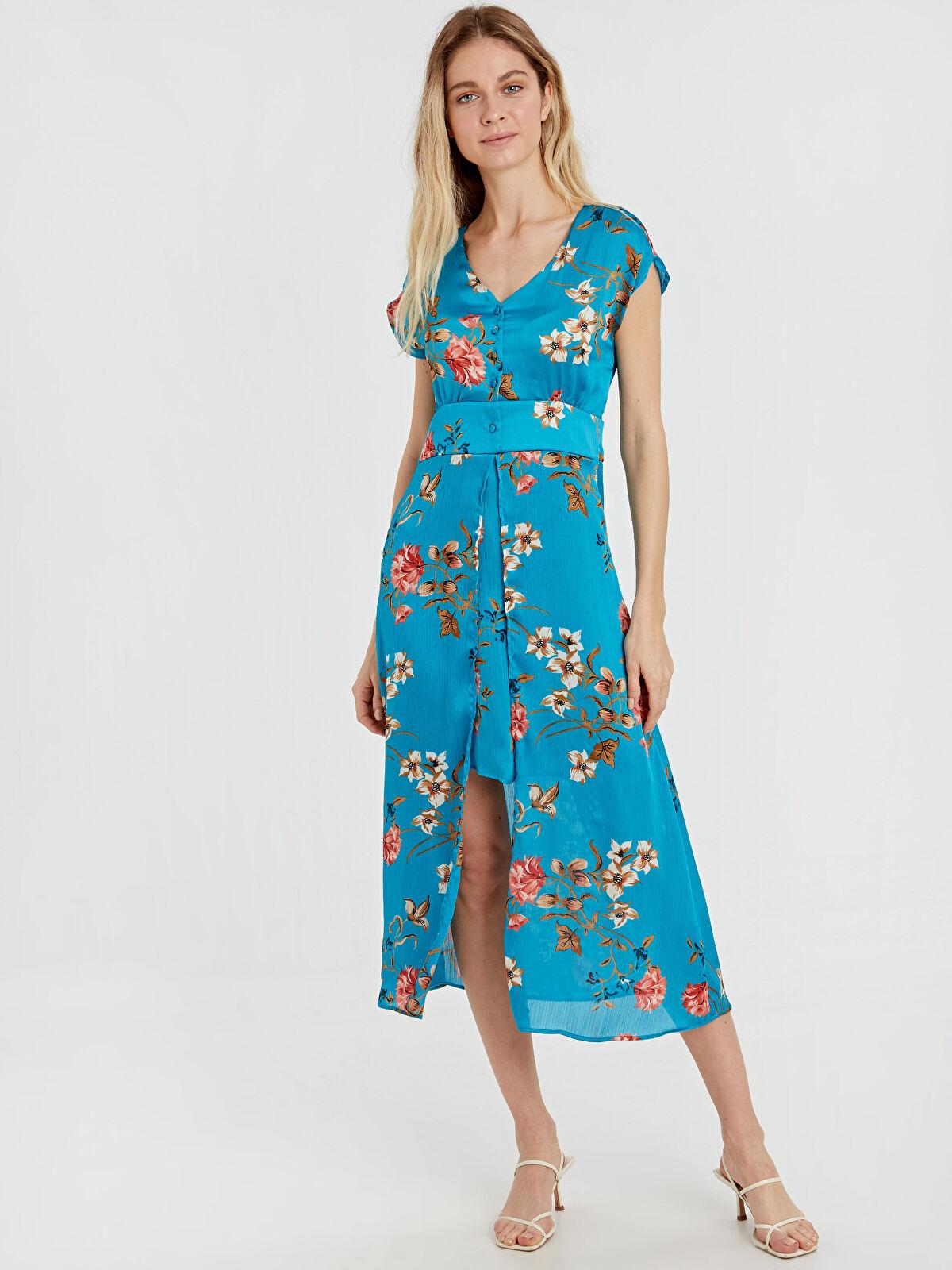 Çiçek Desenli Saten Elbise - LC WAIKIKI