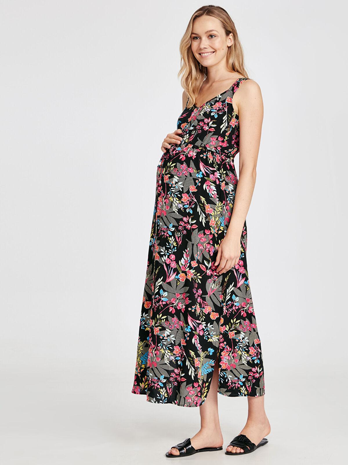 Çiçek Desenli Viskon Hamile Elbise - LC WAIKIKI