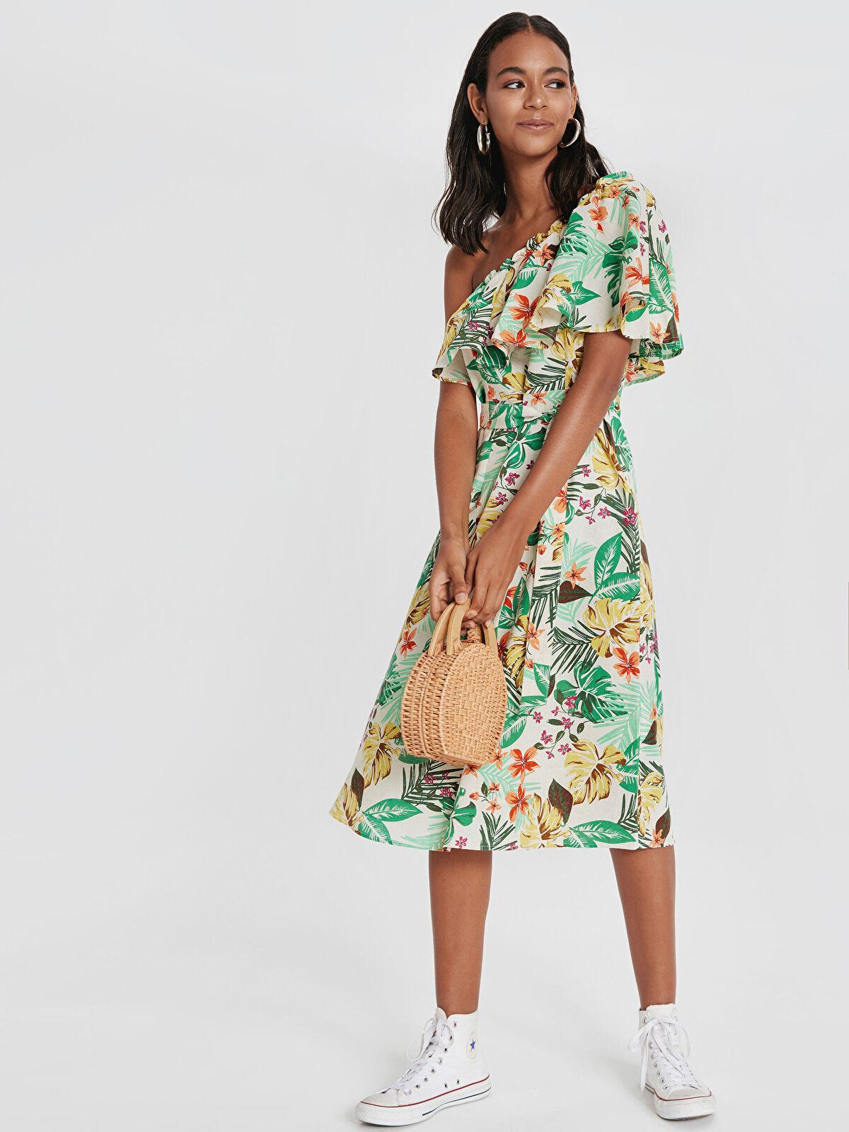 Tek Omuz Desenli Kuşaklı Elbise - LC WAIKIKI