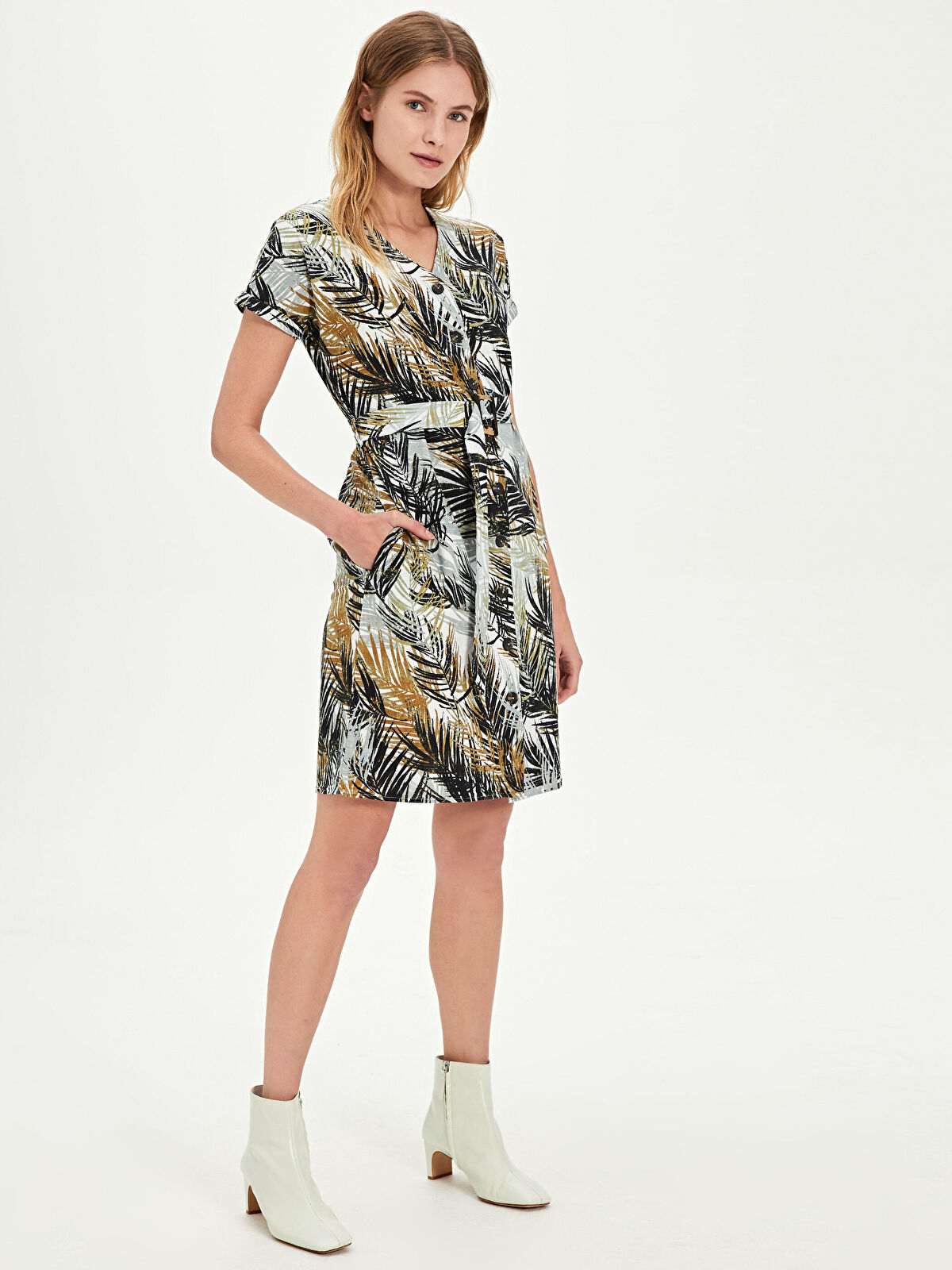 Kuşaklı Desenli Elbise - LC WAIKIKI