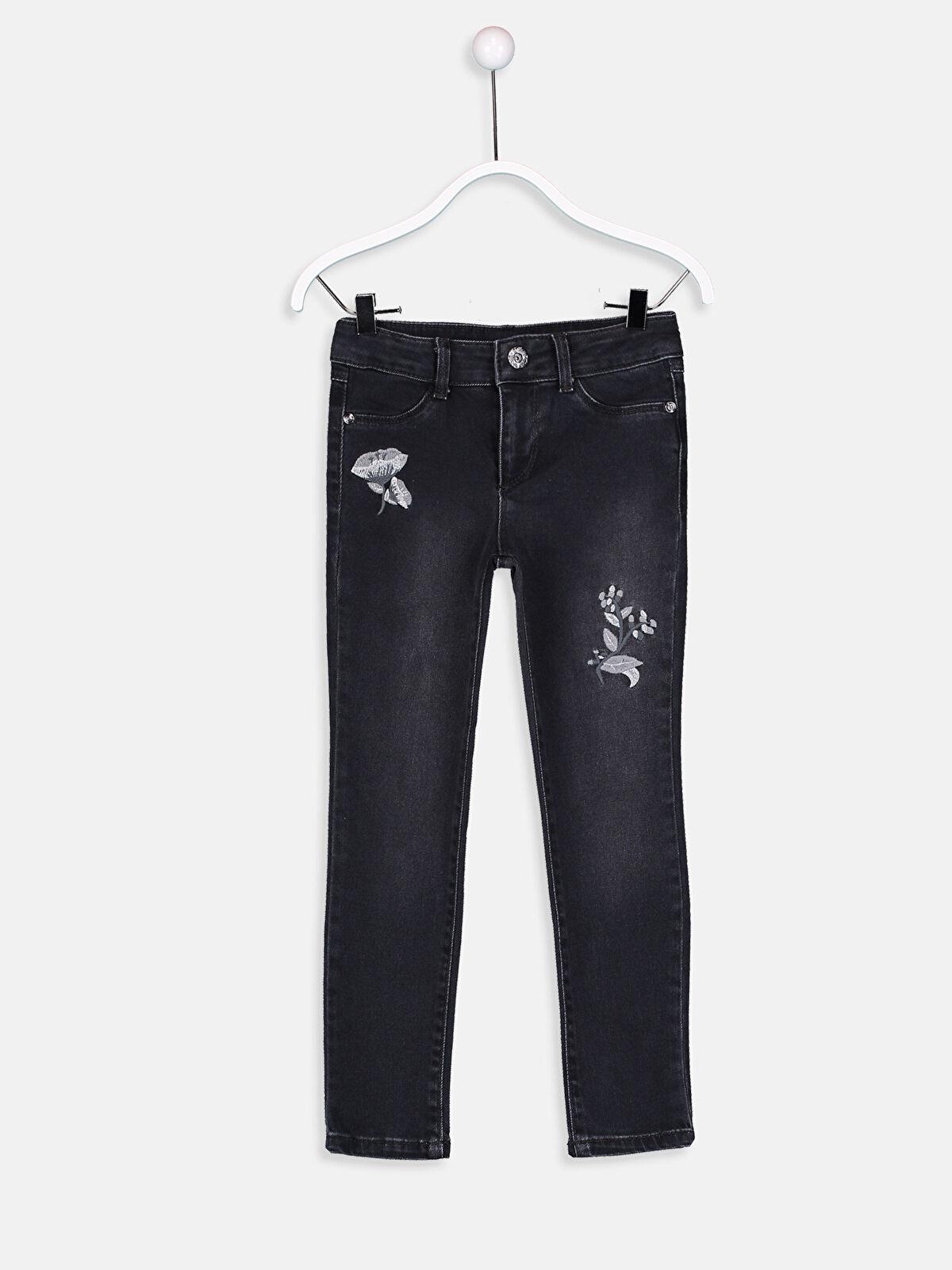 Kız Çocuk Çiçek Nakışlı Skinny Jean Pantolon - LC WAIKIKI