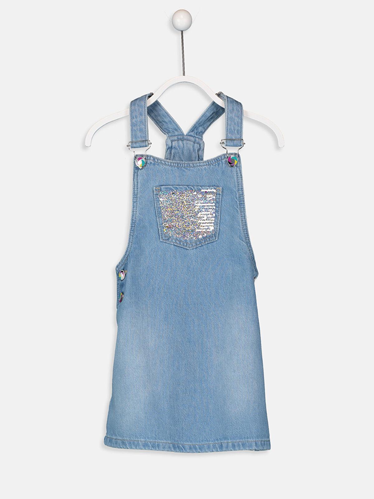Kız Çocuk Çift Yönlü Payetli Jean Salopet Elbise - LC WAIKIKI