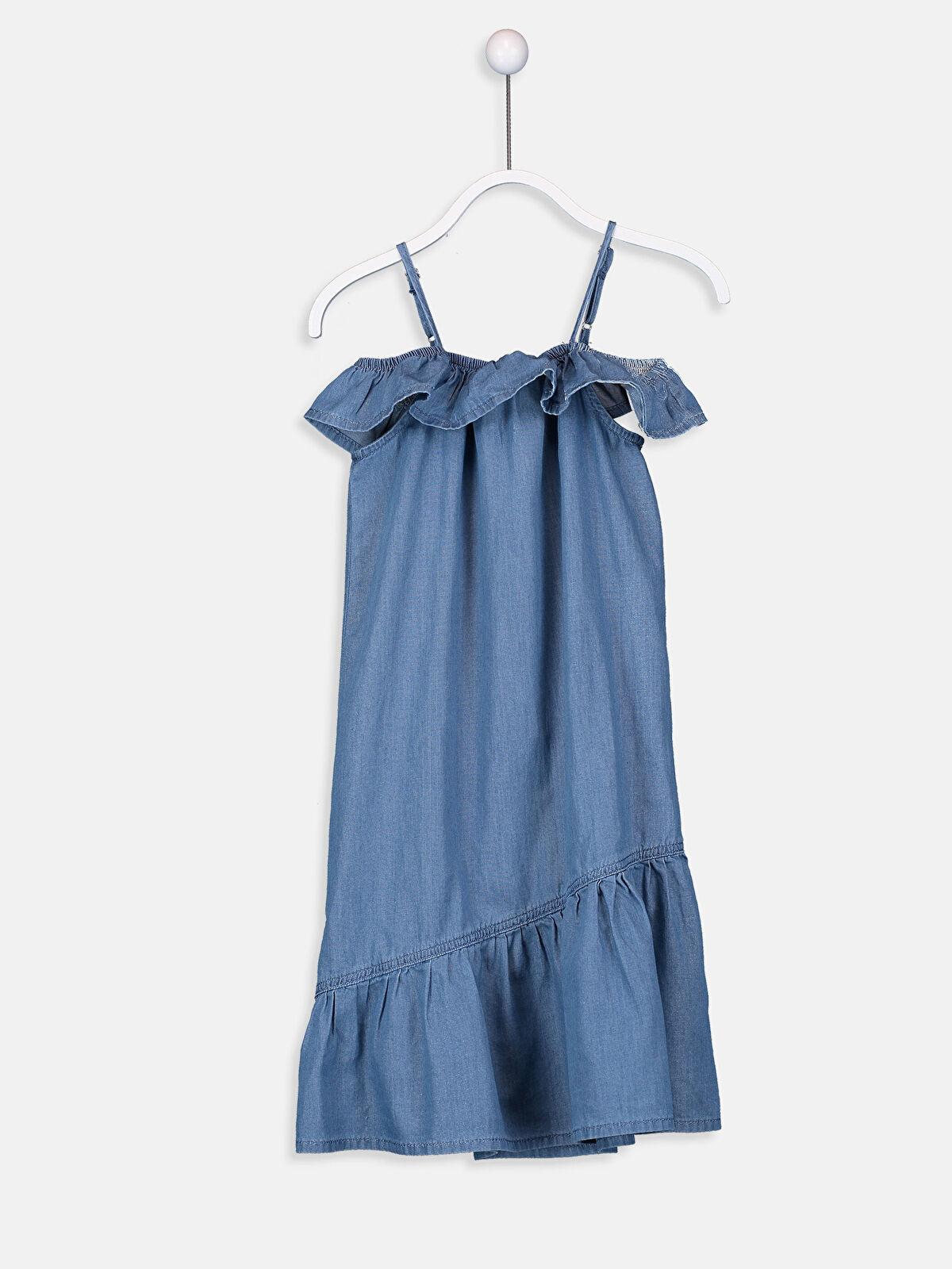 Kız Çocuk Fırfırlı Jean Elbise - LC WAIKIKI