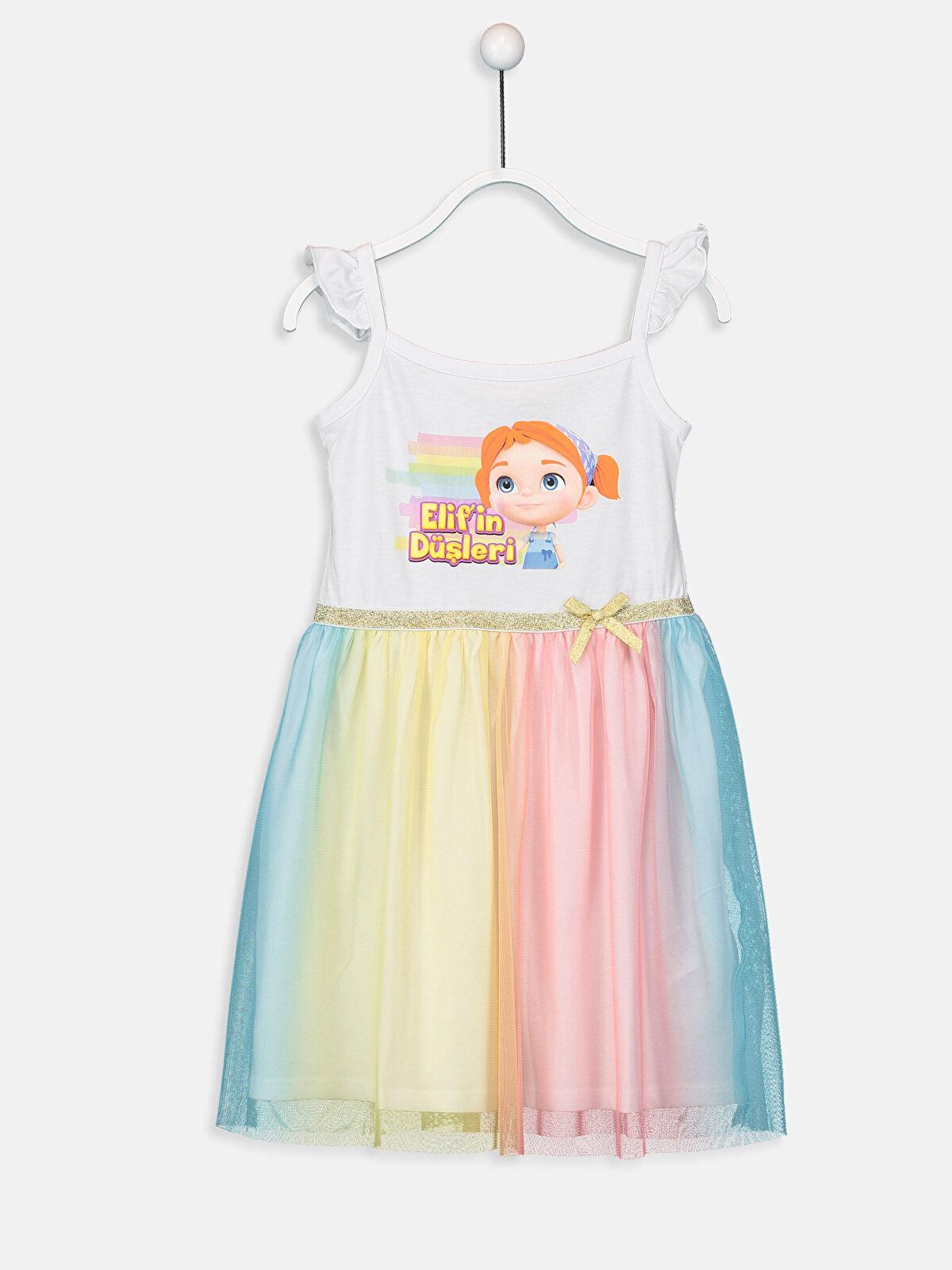 Kız Çocuk Elif'in Düşleri Pamuklu Elbise - LC WAIKIKI