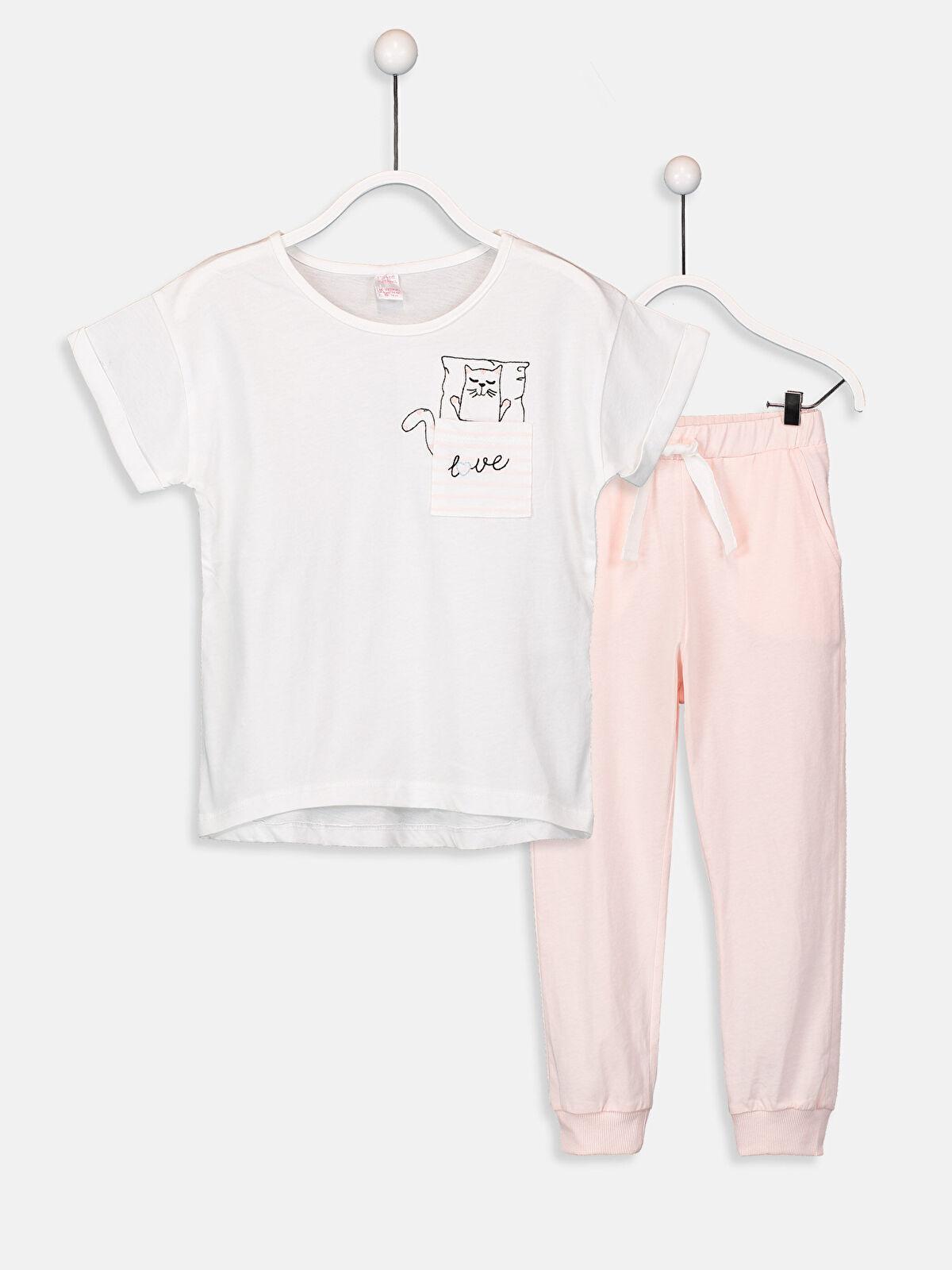 Kız Çocuk Pamuklu Pijama Takımı - LC WAIKIKI