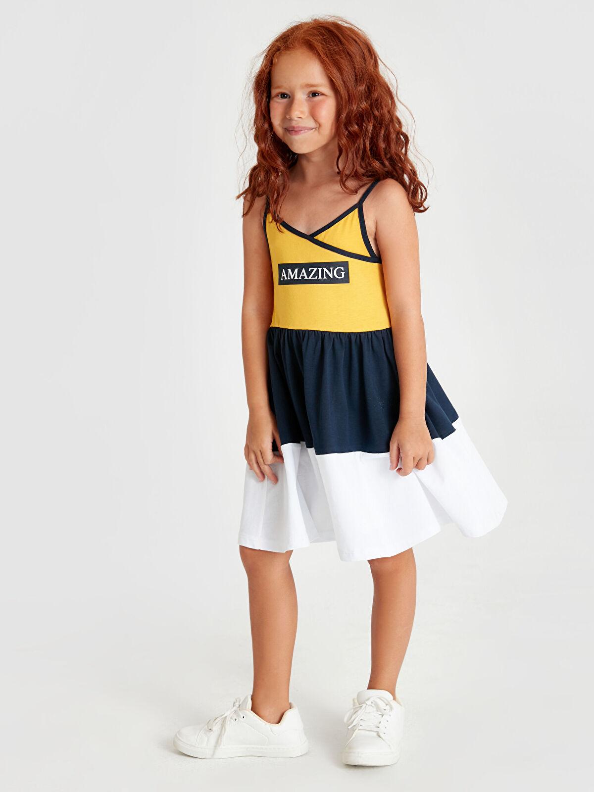 Aile Koleksiyonu Kız Çocuk Yazı Baskılı Pamuklu Elbise - LC WAIKIKI