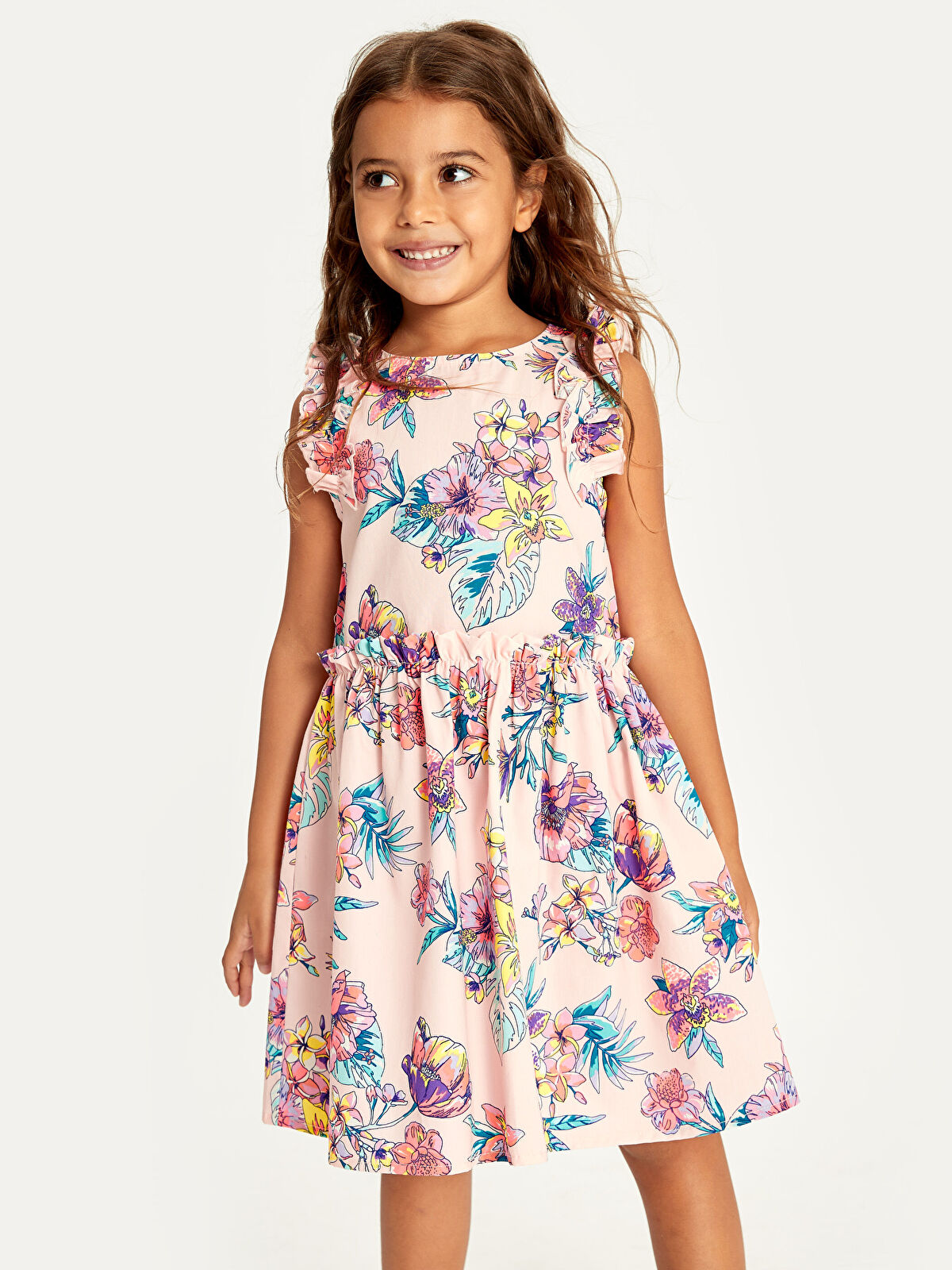 Kız Çocuk Fırfırlı Çiçekli Pamuklu Elbise - LC WAIKIKI